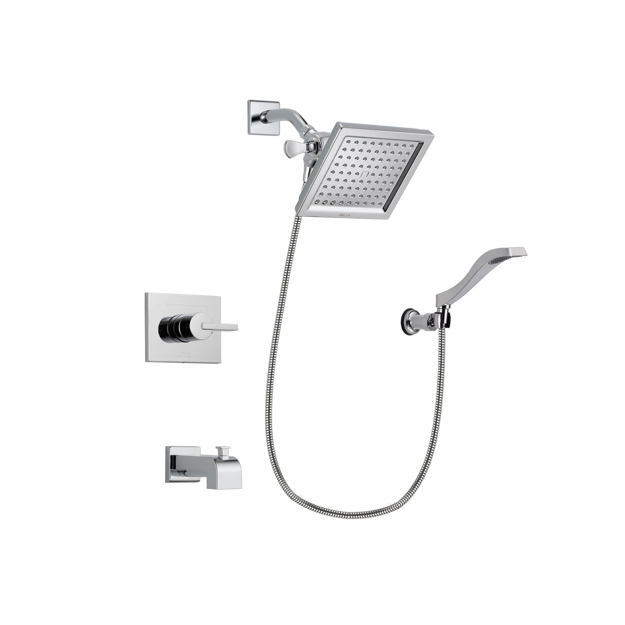 Delta Vero Chrome Tub and Shower Faucet System Package with Hand Shower DSP0026V