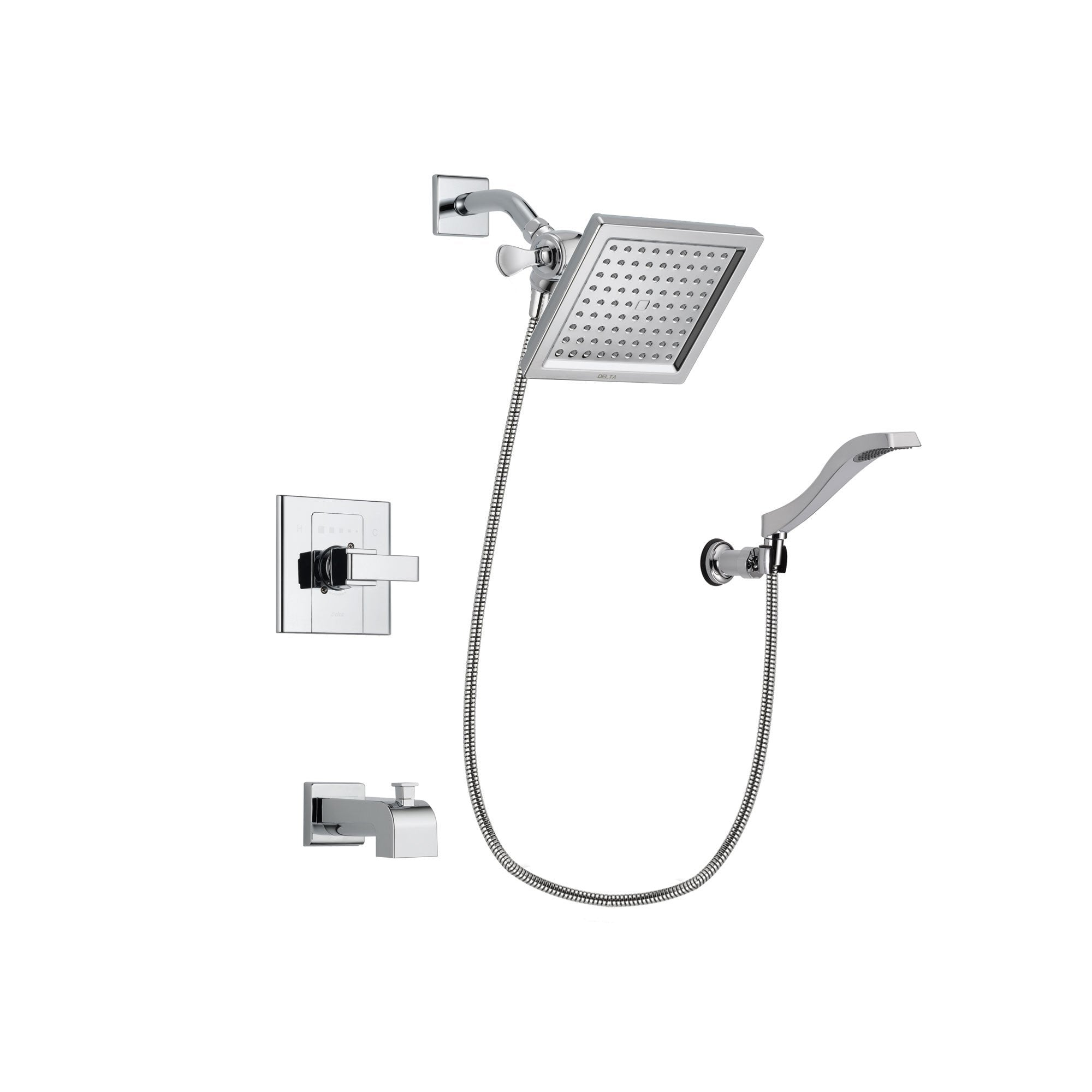 Delta Arzo Chrome Finish Tub and Shower Faucet System Package with 6.5-inch Square Rain Showerhead and Modern Handheld Shower Spray with Wall Bracket and Hose Includes Rough-in Valve and Tub Spout DSP0027V