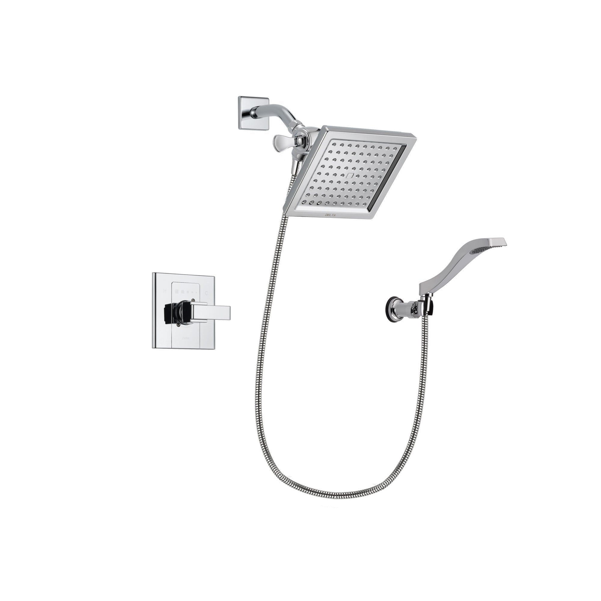 Delta Arzo Chrome Finish Shower Faucet System Package with 6.5-inch Square Rain Showerhead and Modern Handheld Shower Spray with Wall Bracket and Hose Includes Rough-in Valve DSP0028V