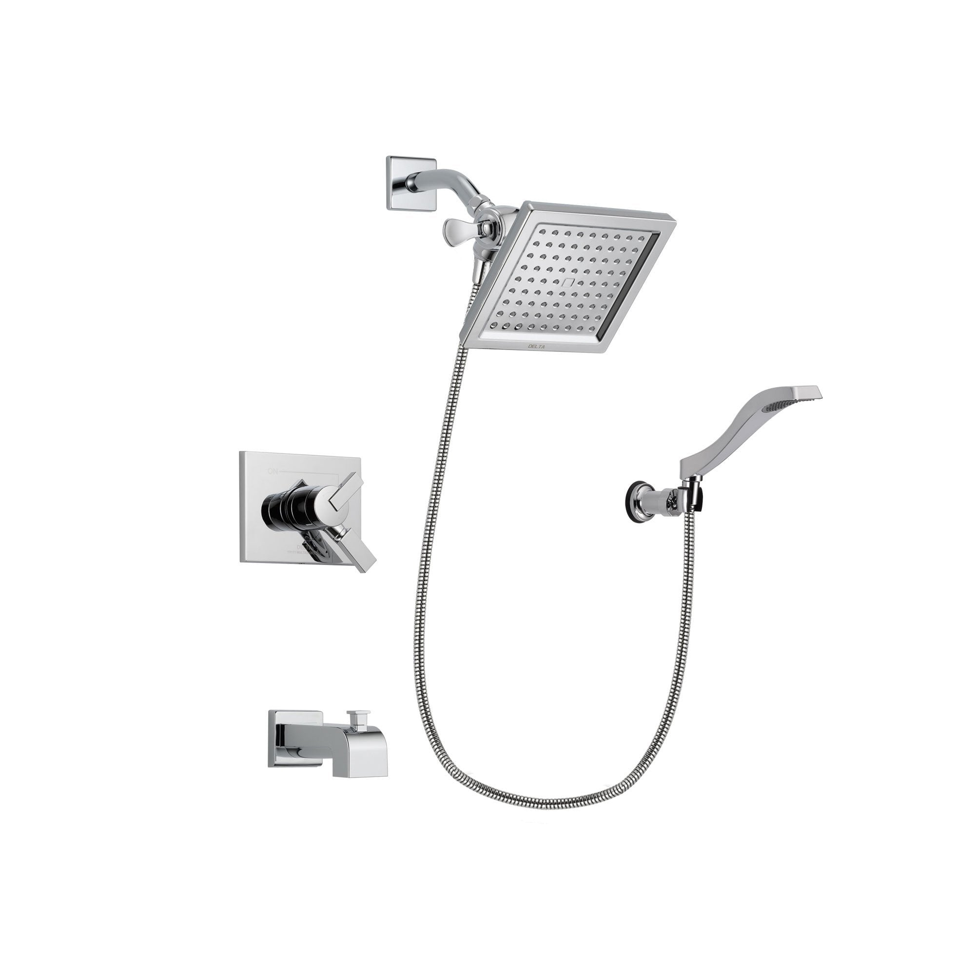 Delta Vero Chrome Tub and Shower Faucet System Package with Hand Shower DSP0031V