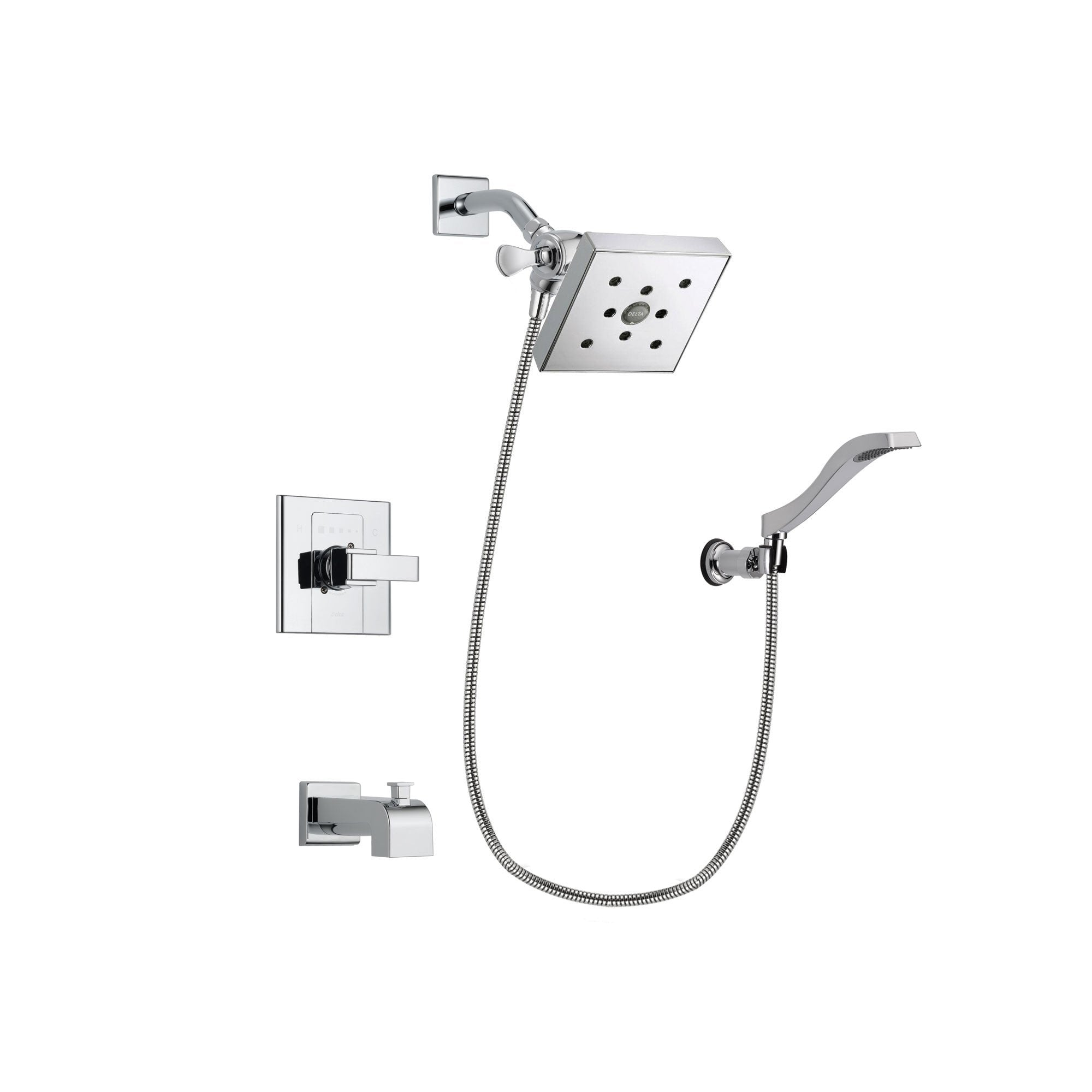 Delta Arzo Chrome Finish Tub and Shower Faucet System Package with Square Shower Head and Modern Handheld Shower Spray with Wall Bracket and Hose Includes Rough-in Valve and Tub Spout DSP0043V