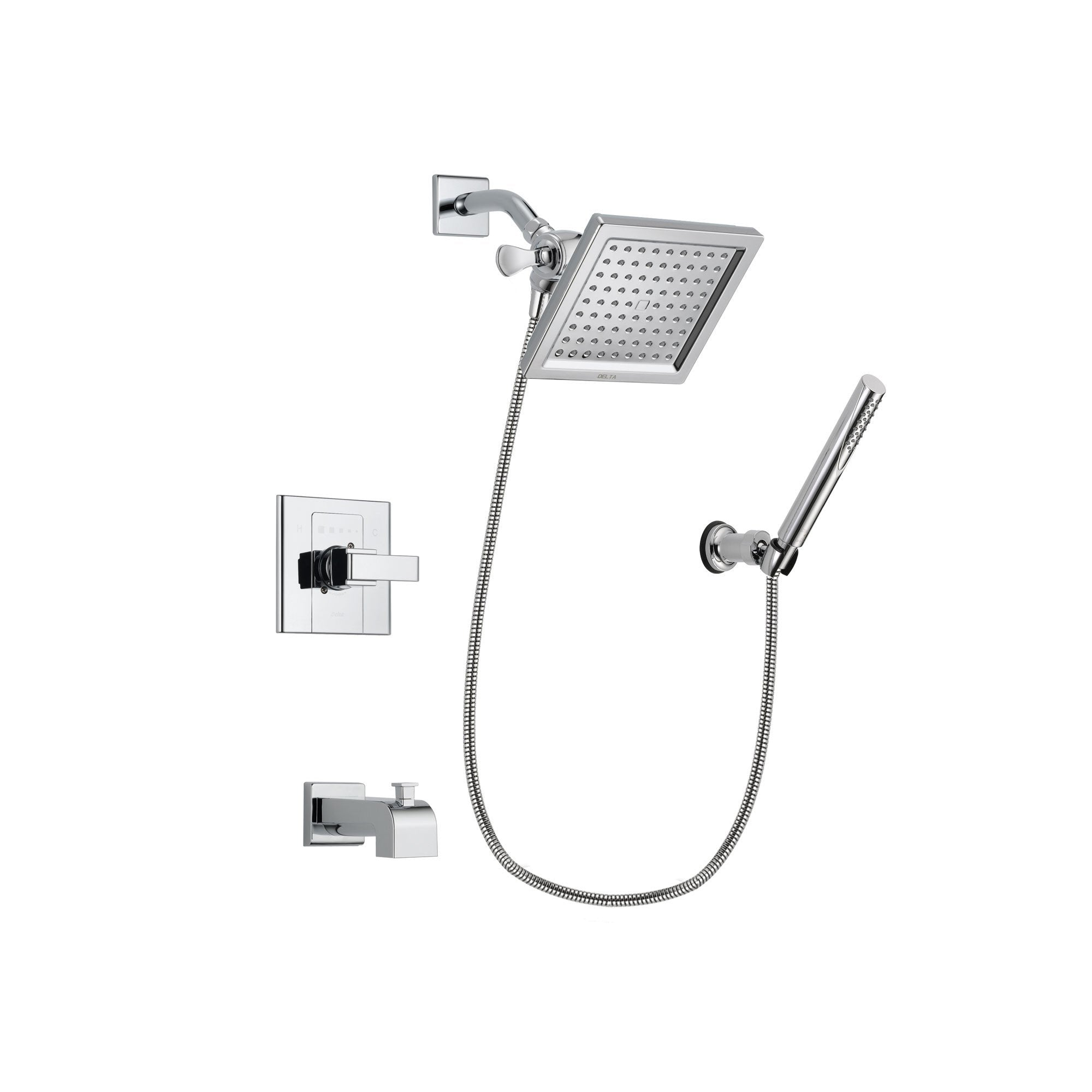 Delta Arzo Chrome Finish Tub and Shower Faucet System Package with 6.5-inch Square Rain Showerhead and Modern Handheld Shower Spray with Wall Bracket and Hose Includes Rough-in Valve and Tub Spout DSP0075V