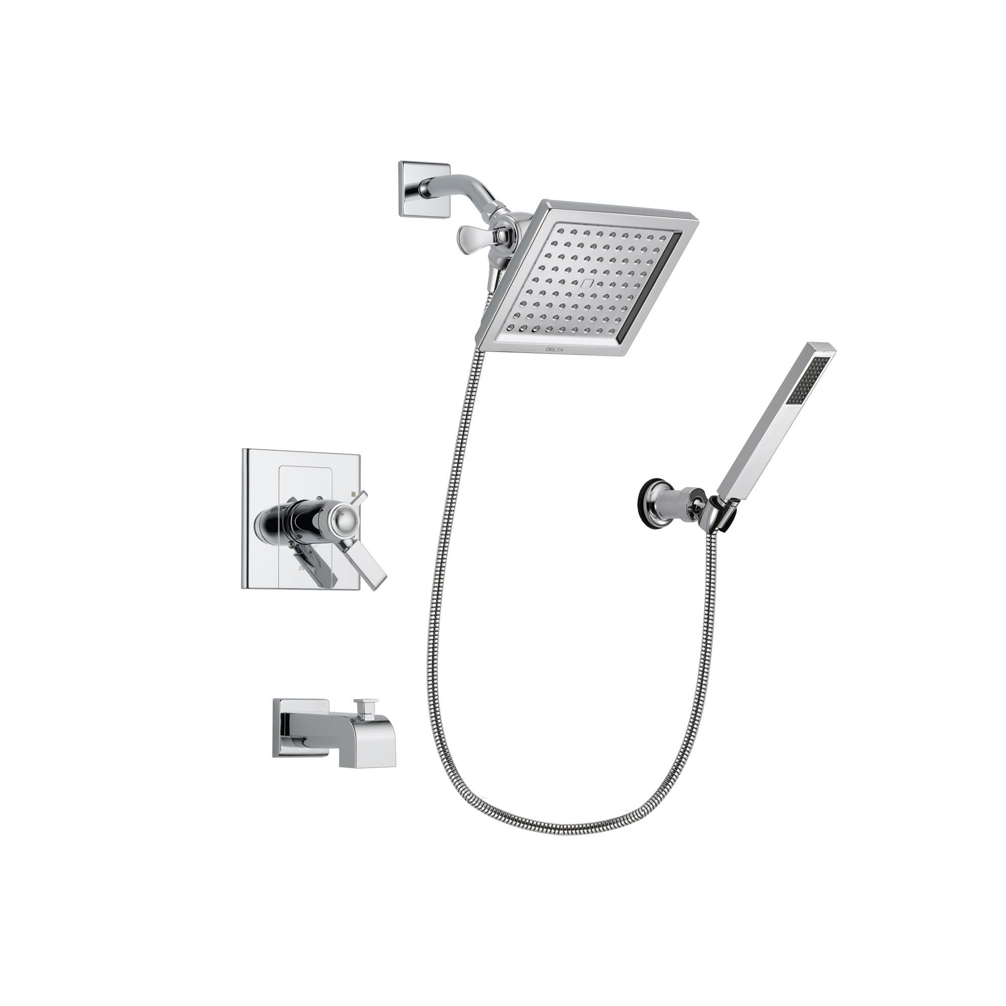 Delta Arzo Chrome Finish Thermostatic Tub and Shower Faucet System Package with 6.5-inch Square Rain Showerhead and Modern Handheld Shower Spray with Wall Bracket and Hose Includes Rough-in Valve and Tub Spout DSP0118V