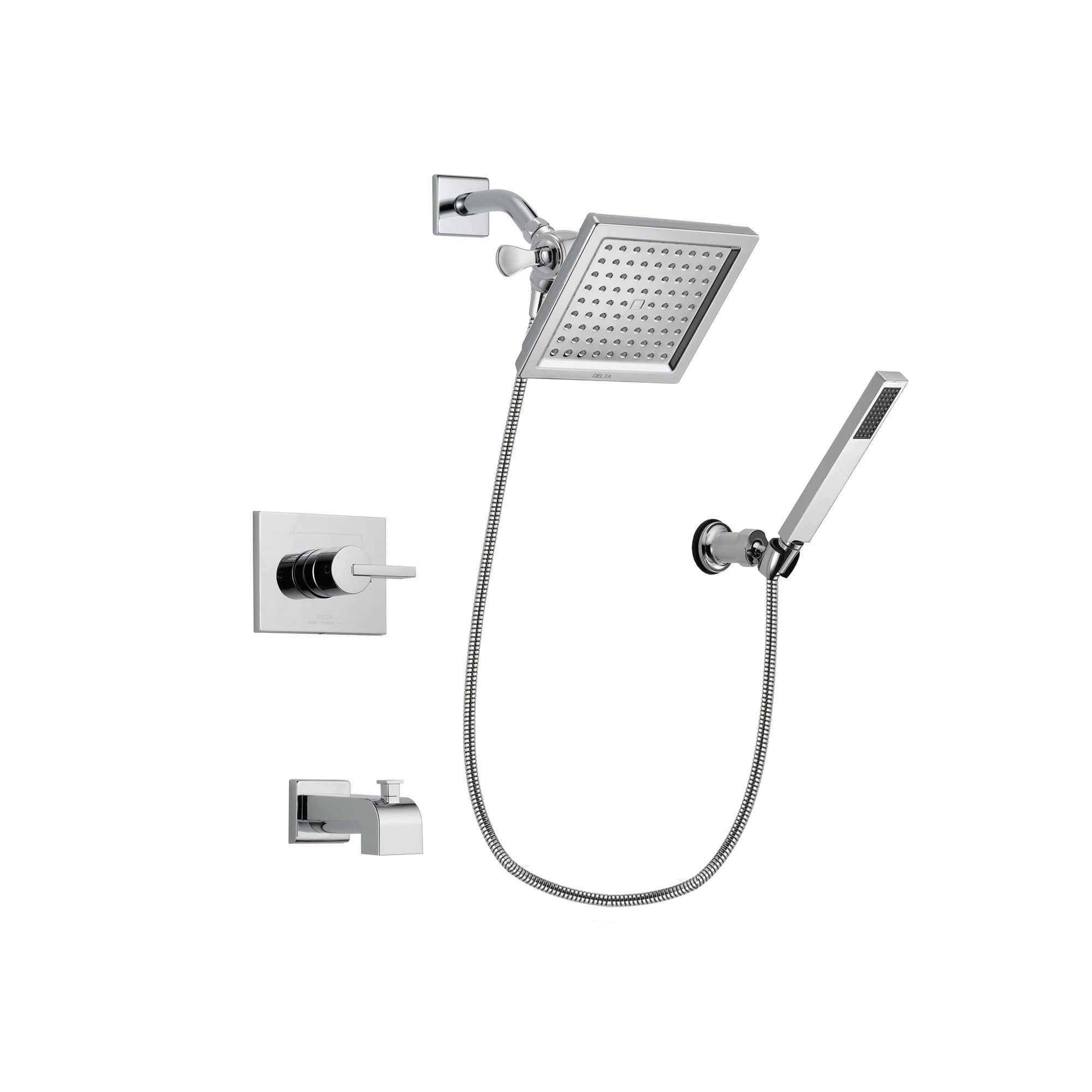 Delta Vero Chrome Tub and Shower Faucet System Package with Hand Shower DSP0122V