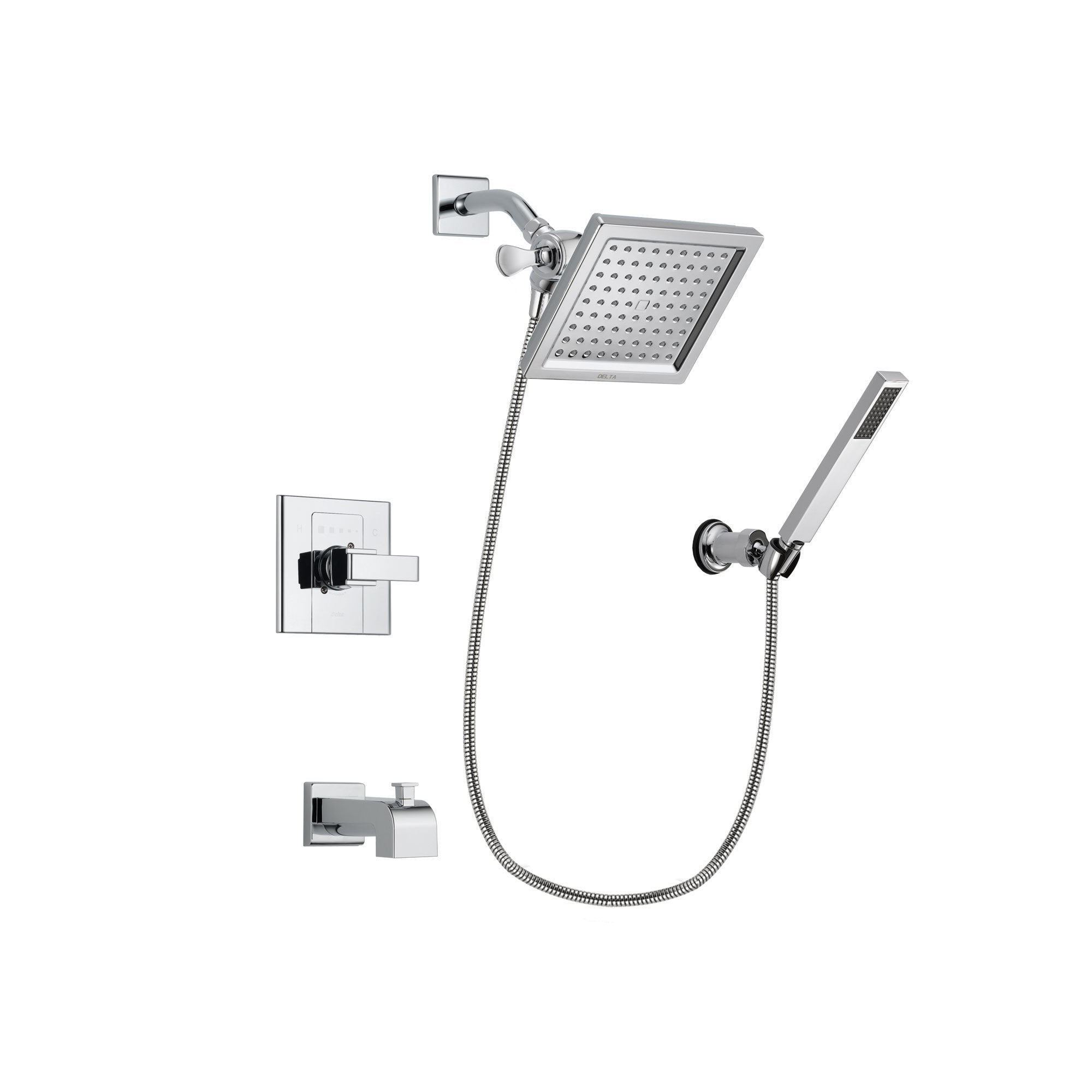 Delta Arzo Chrome Finish Tub and Shower Faucet System Package with 6.5-inch Square Rain Showerhead and Modern Handheld Shower Spray with Wall Bracket and Hose Includes Rough-in Valve and Tub Spout DSP0123V