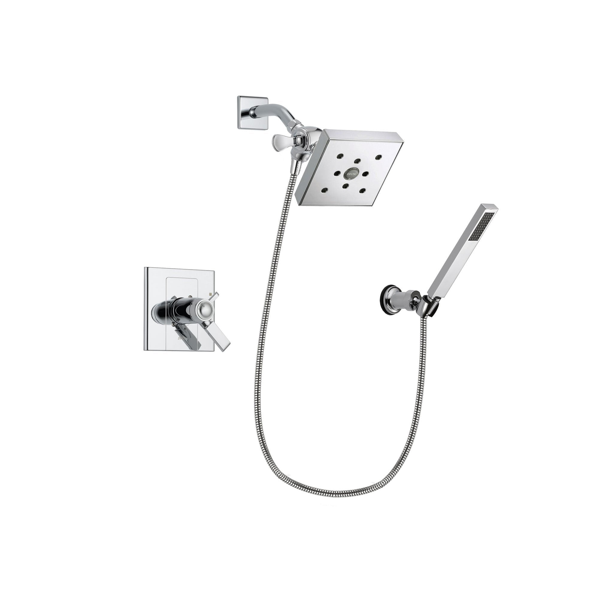 Delta Arzo Chrome Finish Thermostatic Shower Faucet System Package with Square Shower Head and Modern Handheld Shower Spray with Wall Bracket and Hose Includes Rough-in Valve DSP0133V