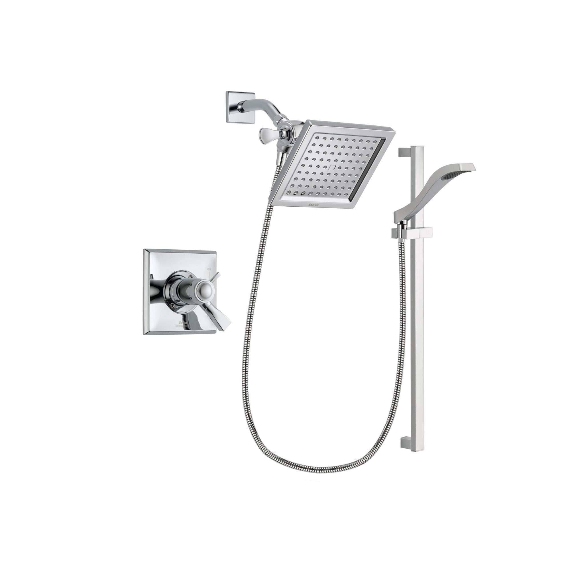 Delta Dryden Chrome Shower Faucet System w/ Shower Head and Hand Shower DSP0161V