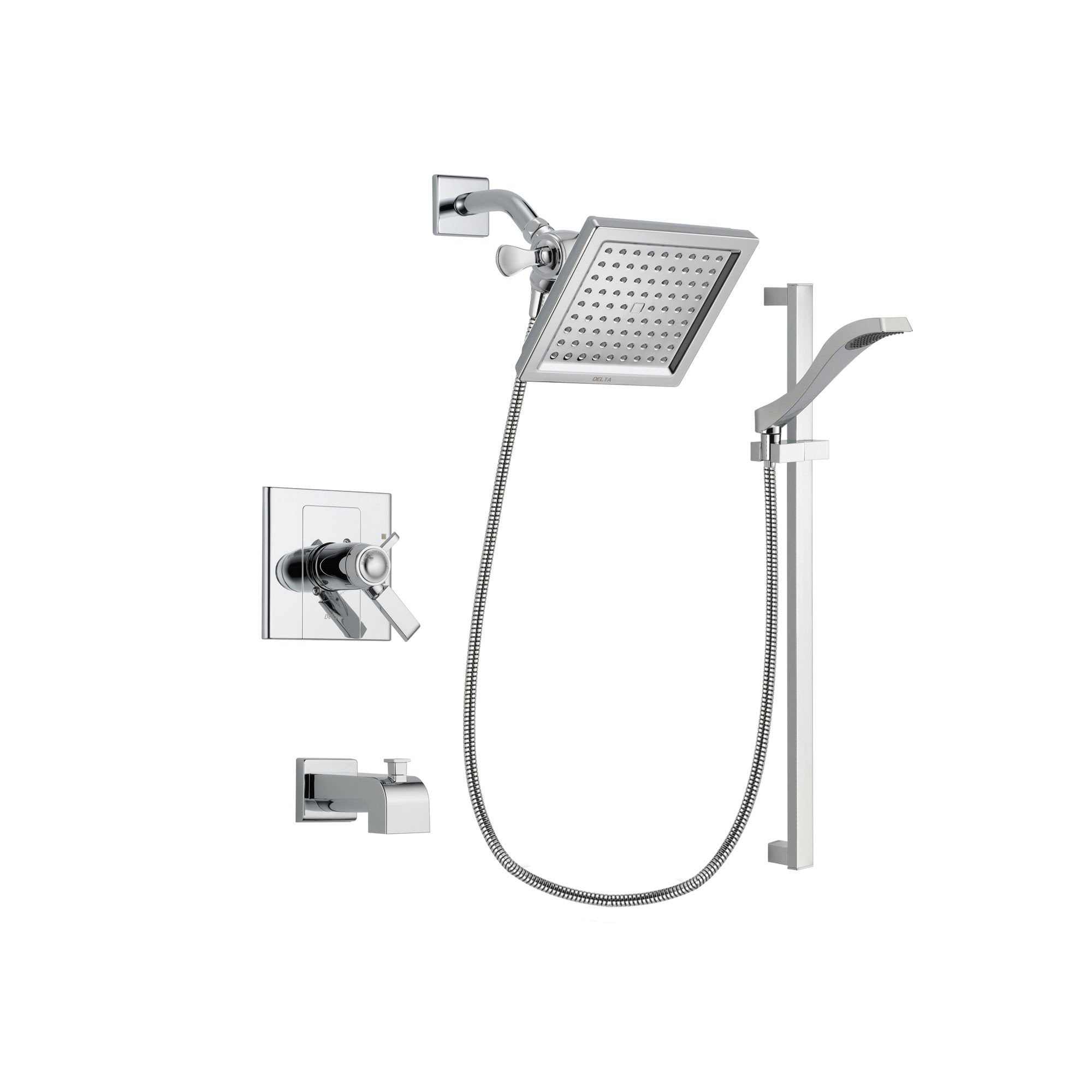 Delta Arzo Chrome Finish Thermostatic Tub and Shower Faucet System Package with 6.5-inch Square Rain Showerhead and Wall Mount Slide Bar with Handheld Shower Spray Includes Rough-in Valve and Tub Spout DSP0166V