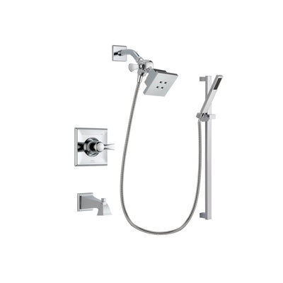 Delta Dryden Chrome Finish Tub and Shower Faucet System Package with Square Showerhead and Modern Square Wall Mount Slide Bar with Handheld Shower Spray Includes Rough-in Valve and Tub Spout DSP0199V