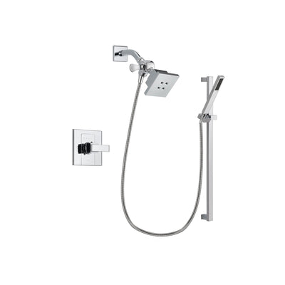 Delta Arzo Chrome Finish Shower Faucet System Package with Square Showerhead and Modern Square Wall Mount Slide Bar with Handheld Shower Spray Includes Rough-in Valve DSP0204V