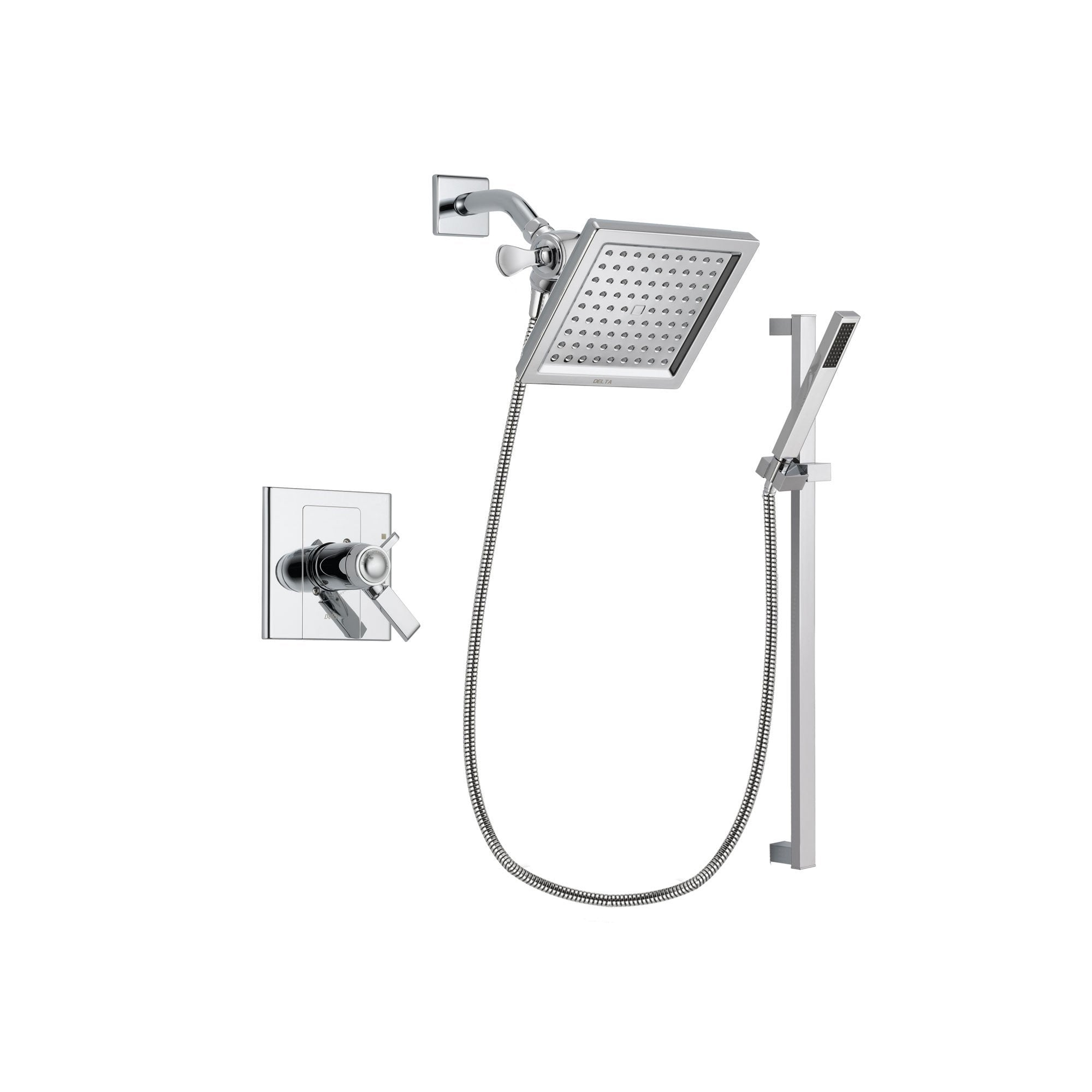 Delta Arzo Chrome Finish Thermostatic Shower Faucet System Package with 6.5-inch Square Rain Showerhead and Modern Square Wall Mount Slide Bar with Handheld Shower Spray Includes Rough-in Valve DSP0213V