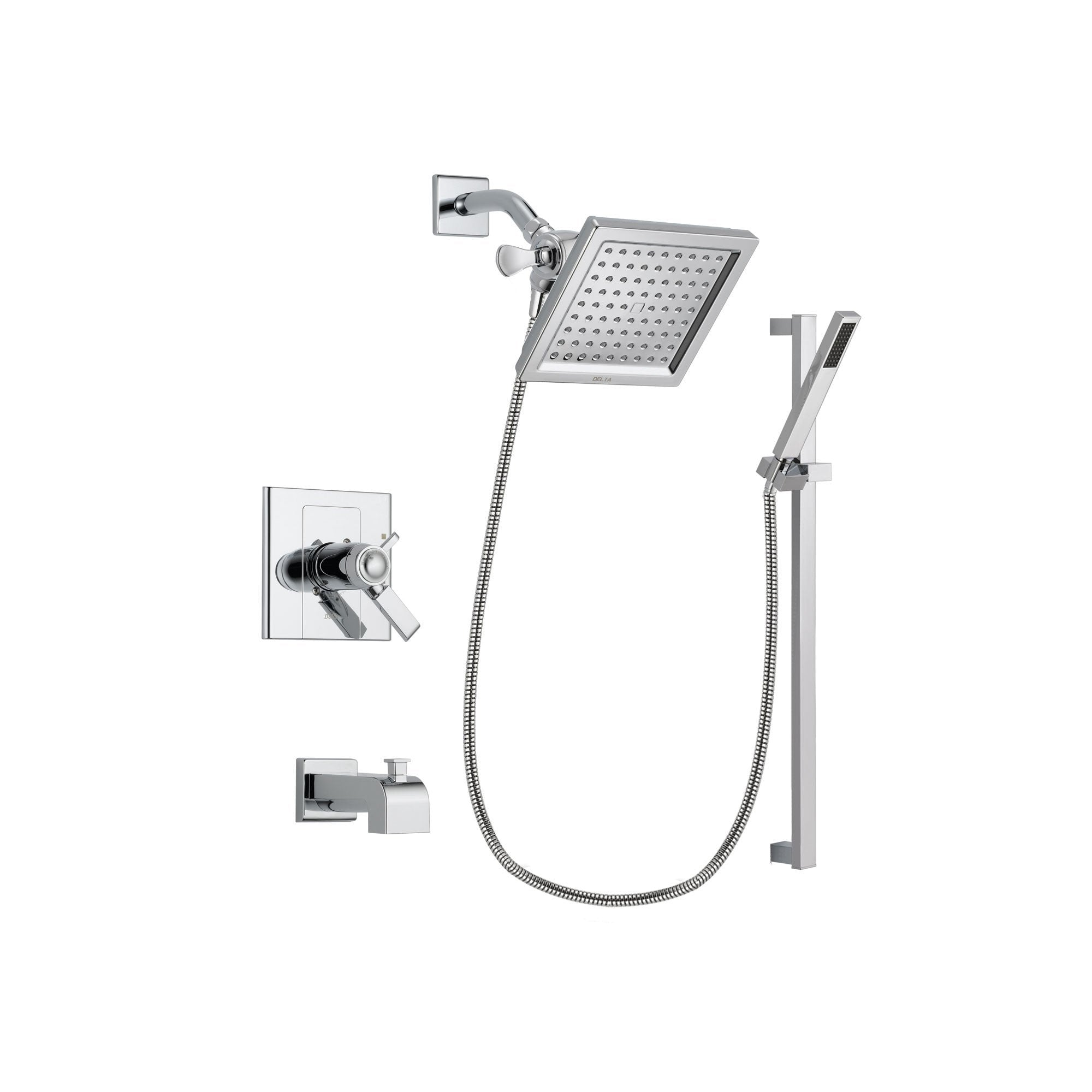 Delta Arzo Chrome Finish Thermostatic Tub and Shower Faucet System Package with 6.5-inch Square Rain Showerhead and Modern Square Wall Mount Slide Bar with Handheld Shower Spray Includes Rough-in Valve and Tub Spout DSP0214V