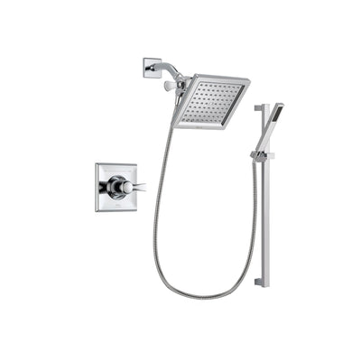 Delta Dryden Chrome Finish Shower Faucet System Package with 6.5-inch Square Rain Showerhead and Modern Square Wall Mount Slide Bar with Handheld Shower Spray Includes Rough-in Valve DSP0216V
