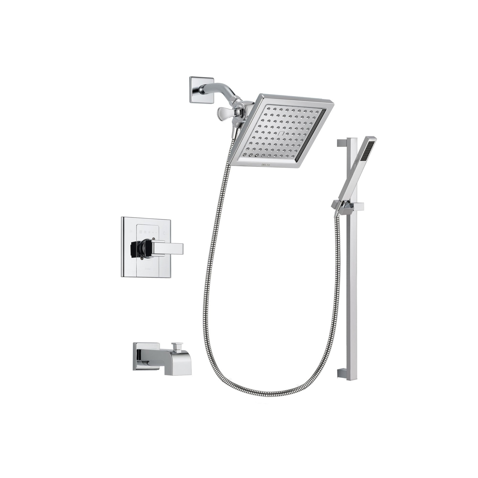 Delta Arzo Chrome Finish Tub and Shower Faucet System Package with 6.5-inch Square Rain Showerhead and Modern Square Wall Mount Slide Bar with Handheld Shower Spray Includes Rough-in Valve and Tub Spout DSP0219V