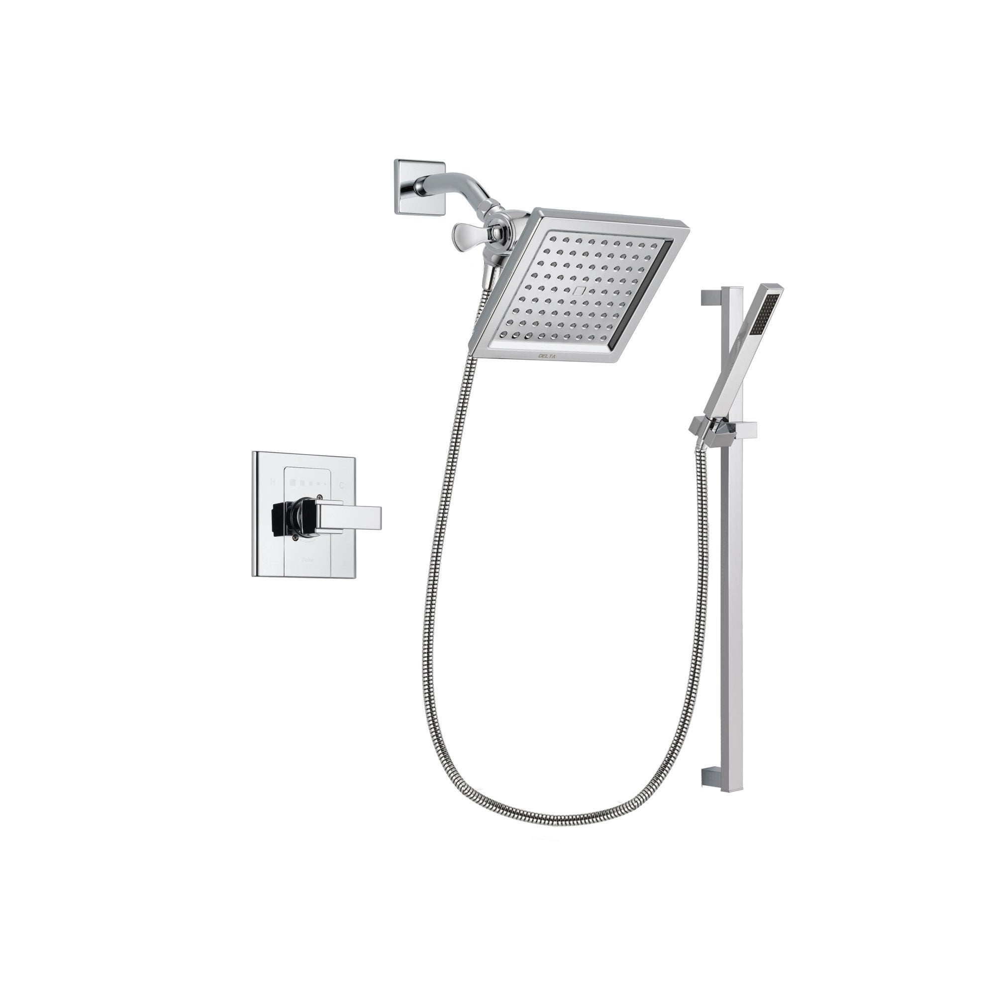 Delta Arzo Chrome Finish Shower Faucet System Package with 6.5-inch Square Rain Showerhead and Modern Square Wall Mount Slide Bar with Handheld Shower Spray Includes Rough-in Valve DSP0220V