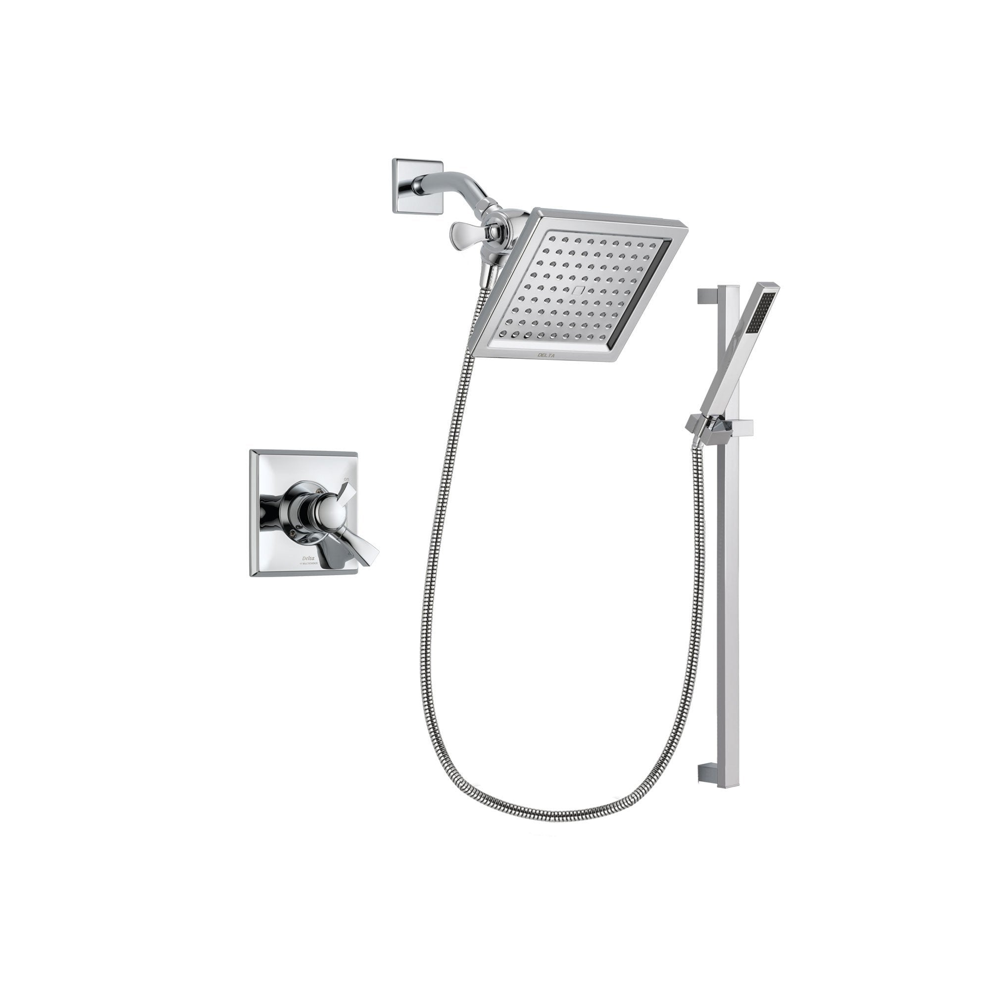 Delta Dryden Chrome Shower Faucet System w/ Shower Head and Hand Shower DSP0222V
