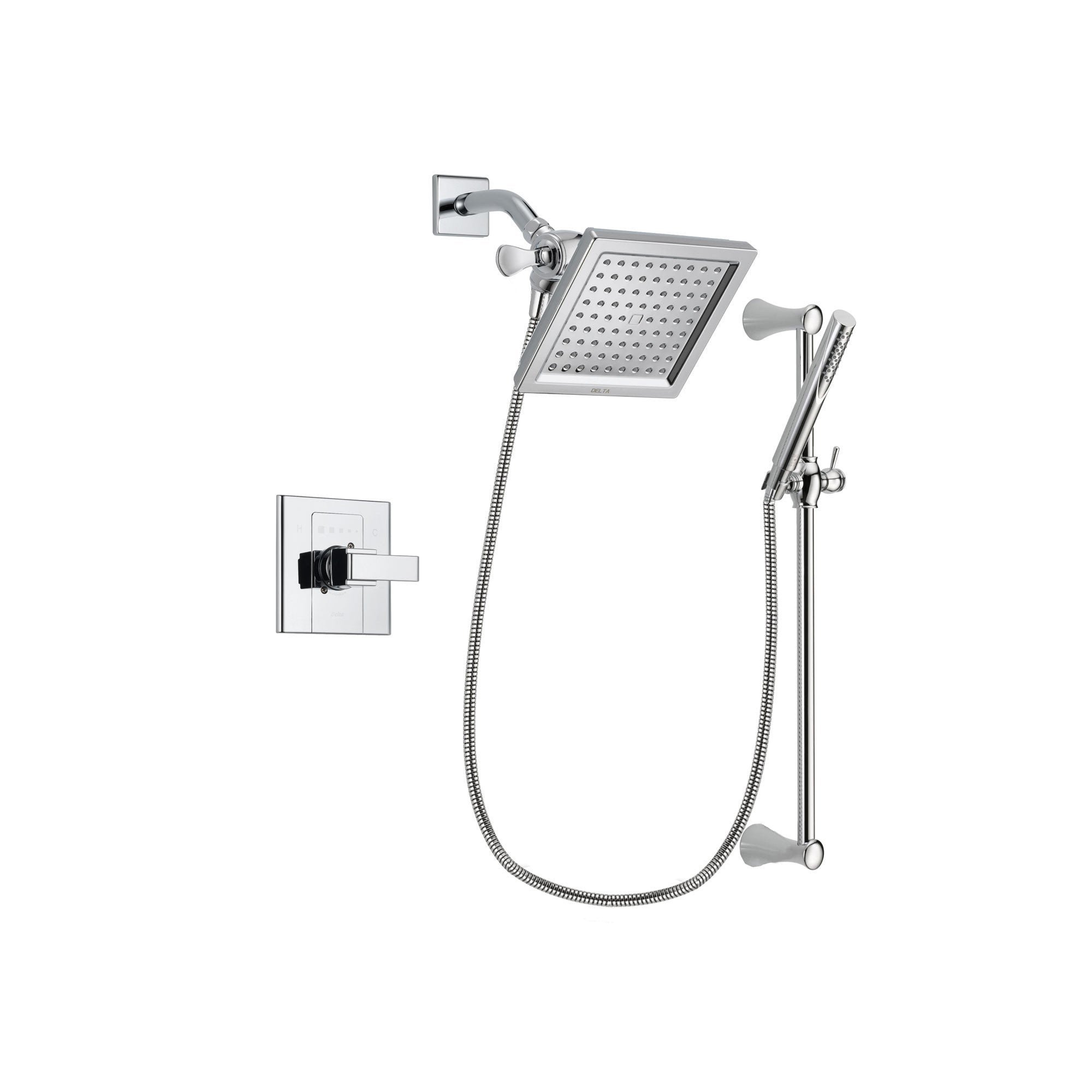 Delta Arzo Chrome Finish Shower Faucet System Package with 6.5-inch Square Rain Showerhead and Modern Wall Mount Slide Bar with Handheld Shower Spray Includes Rough-in Valve DSP0268V