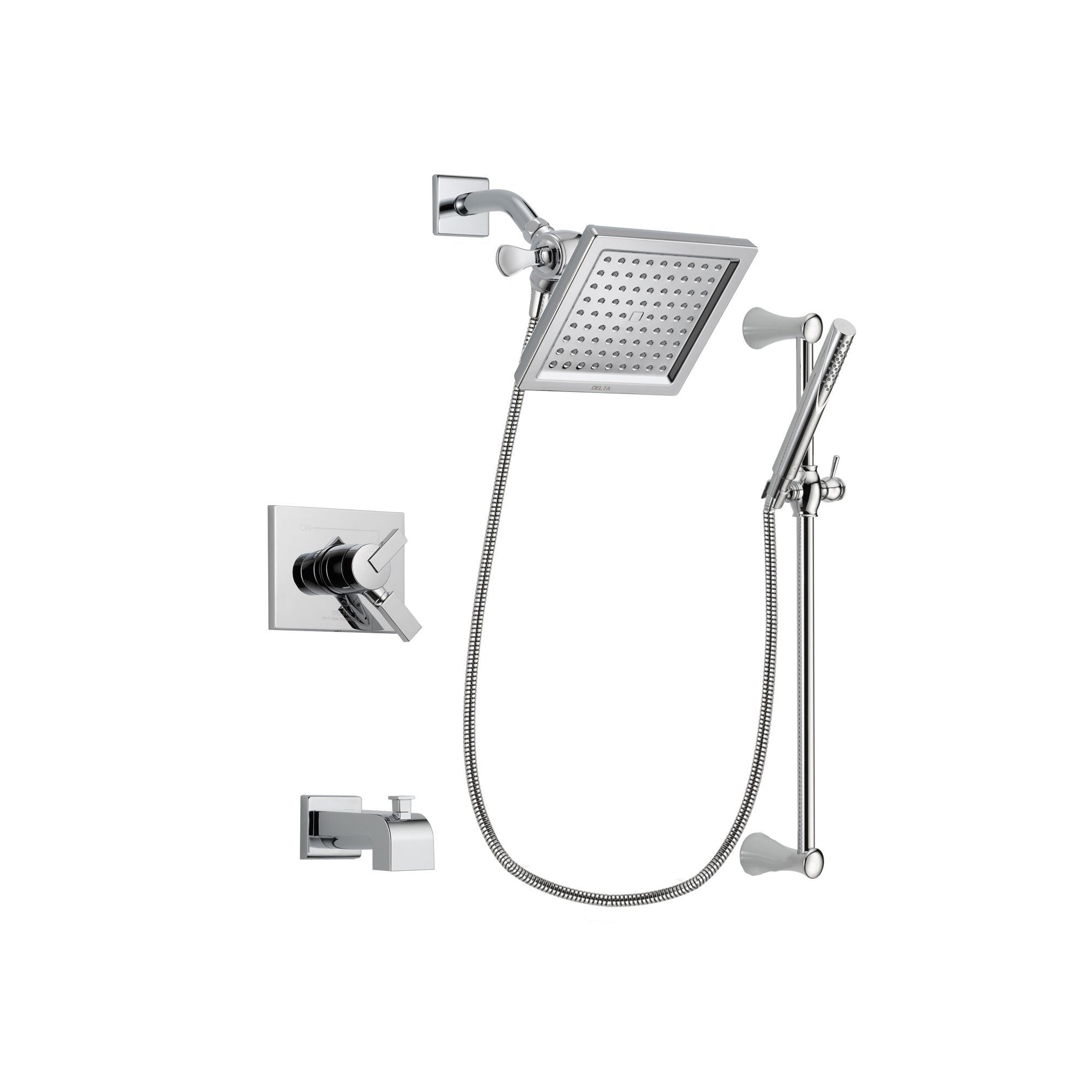 Delta Vero Chrome Tub and Shower Faucet System Package with Hand Shower DSP0271V