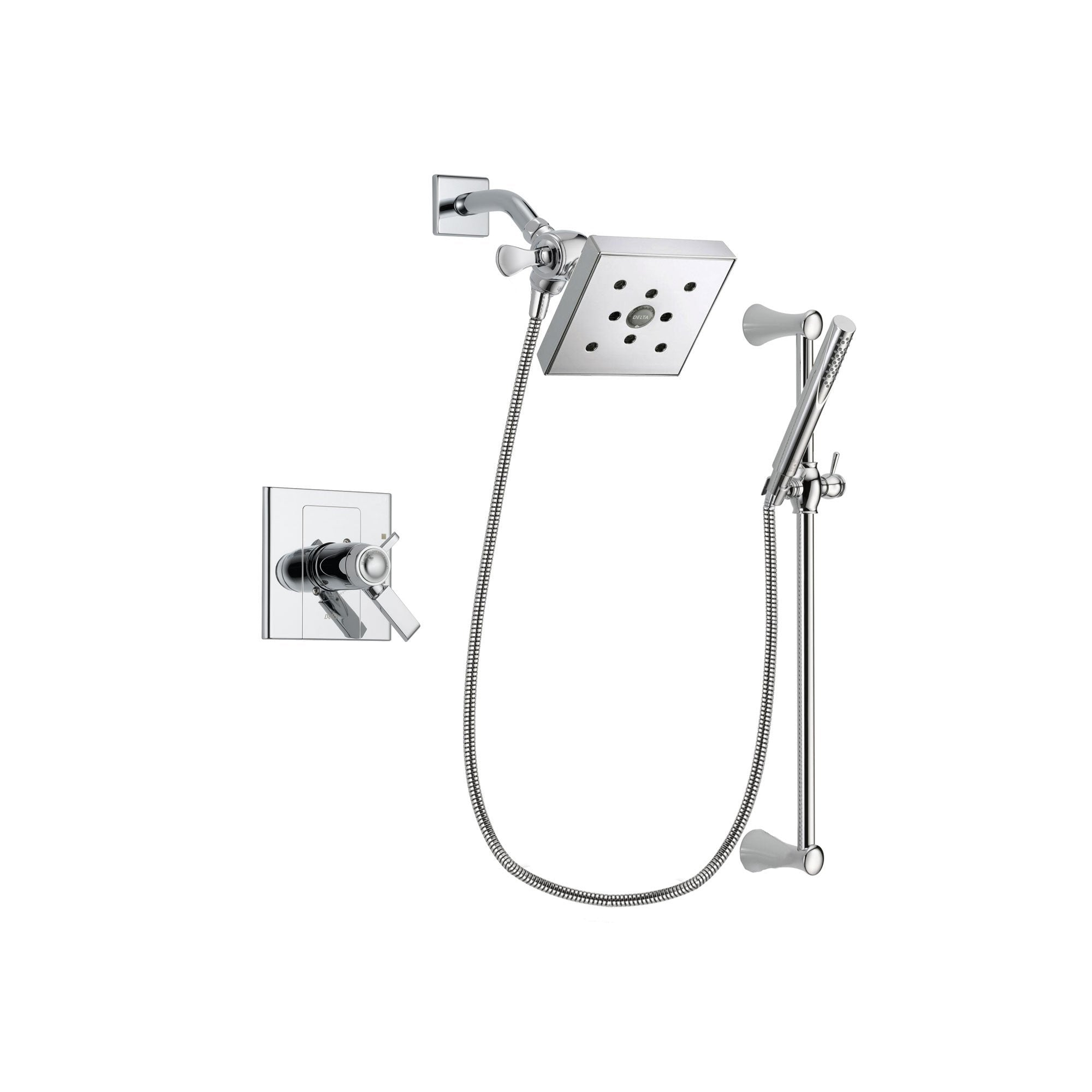 Delta Arzo Chrome Finish Thermostatic Shower Faucet System Package with Square Shower Head and Modern Wall Mount Slide Bar with Handheld Shower Spray Includes Rough-in Valve DSP0277V