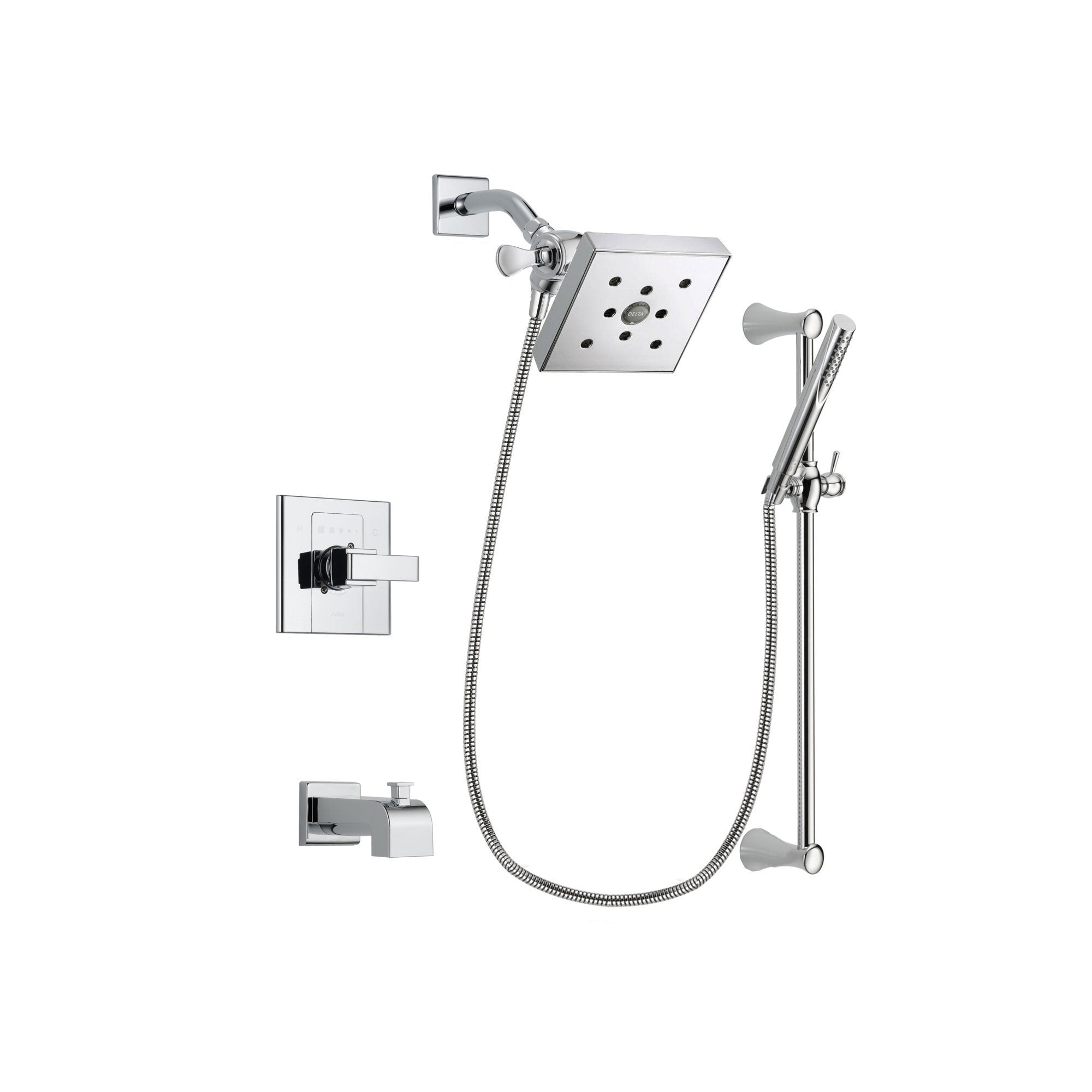 Delta Arzo Chrome Finish Tub and Shower Faucet System Package with Square Shower Head and Modern Wall Mount Slide Bar with Handheld Shower Spray Includes Rough-in Valve and Tub Spout DSP0283V