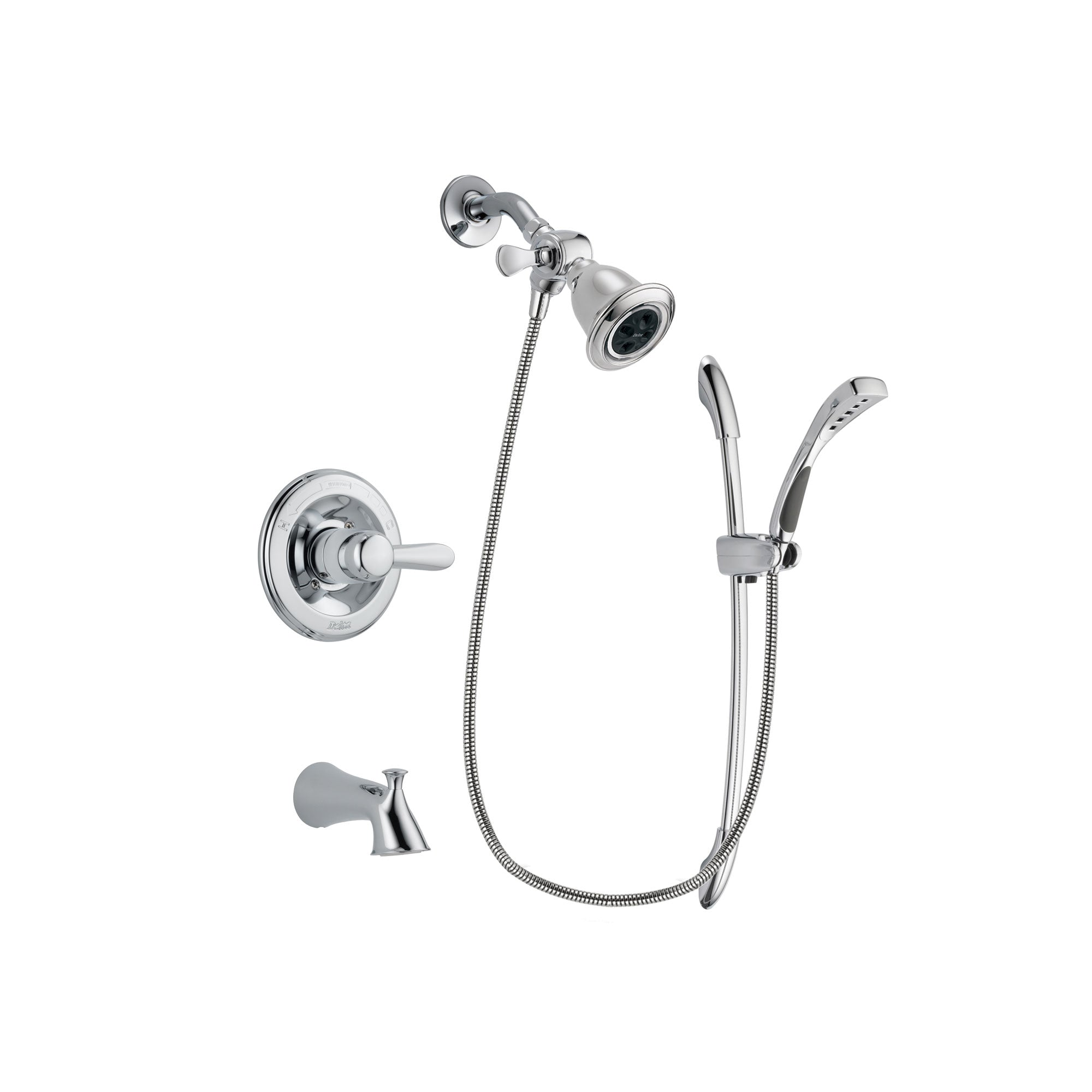 Delta Lahara Chrome Finish Tub and Shower Faucet System Package with Water Efficient Showerhead and Handheld Shower with Slide Bar Includes Rough-in Valve and Tub Spout DSP0469V