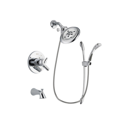Delta Trinsic Chrome Finish Dual Control Tub and Shower Faucet System Package with Large Rain Showerhead and Handheld Shower with Slide Bar Includes Rough-in Valve and Tub Spout DSP0515V