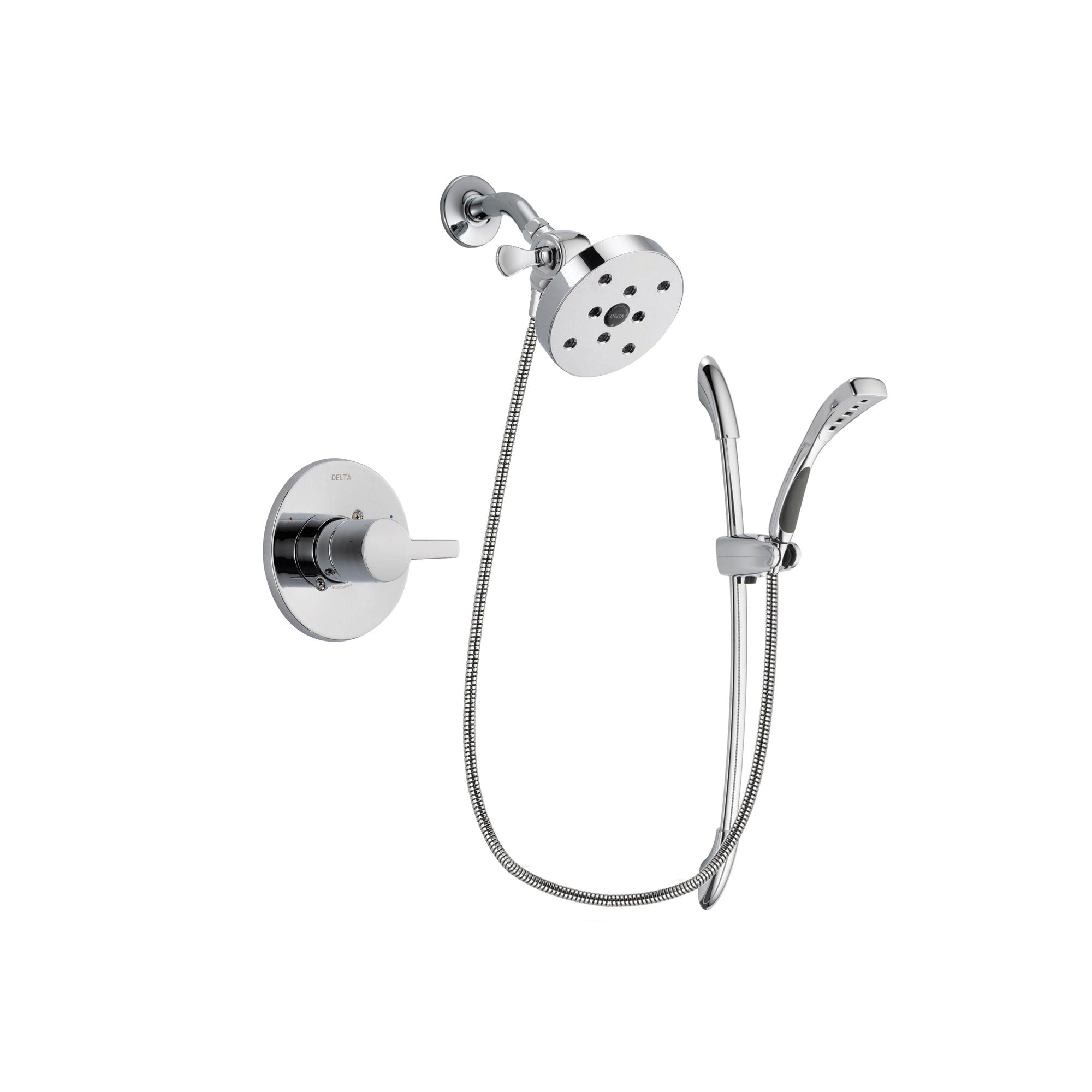 Delta Compel Chrome Finish Shower Faucet System Package with 5-1/2 inch Shower Head and Handheld Shower with Slide Bar Includes Rough-in Valve DSP0542V