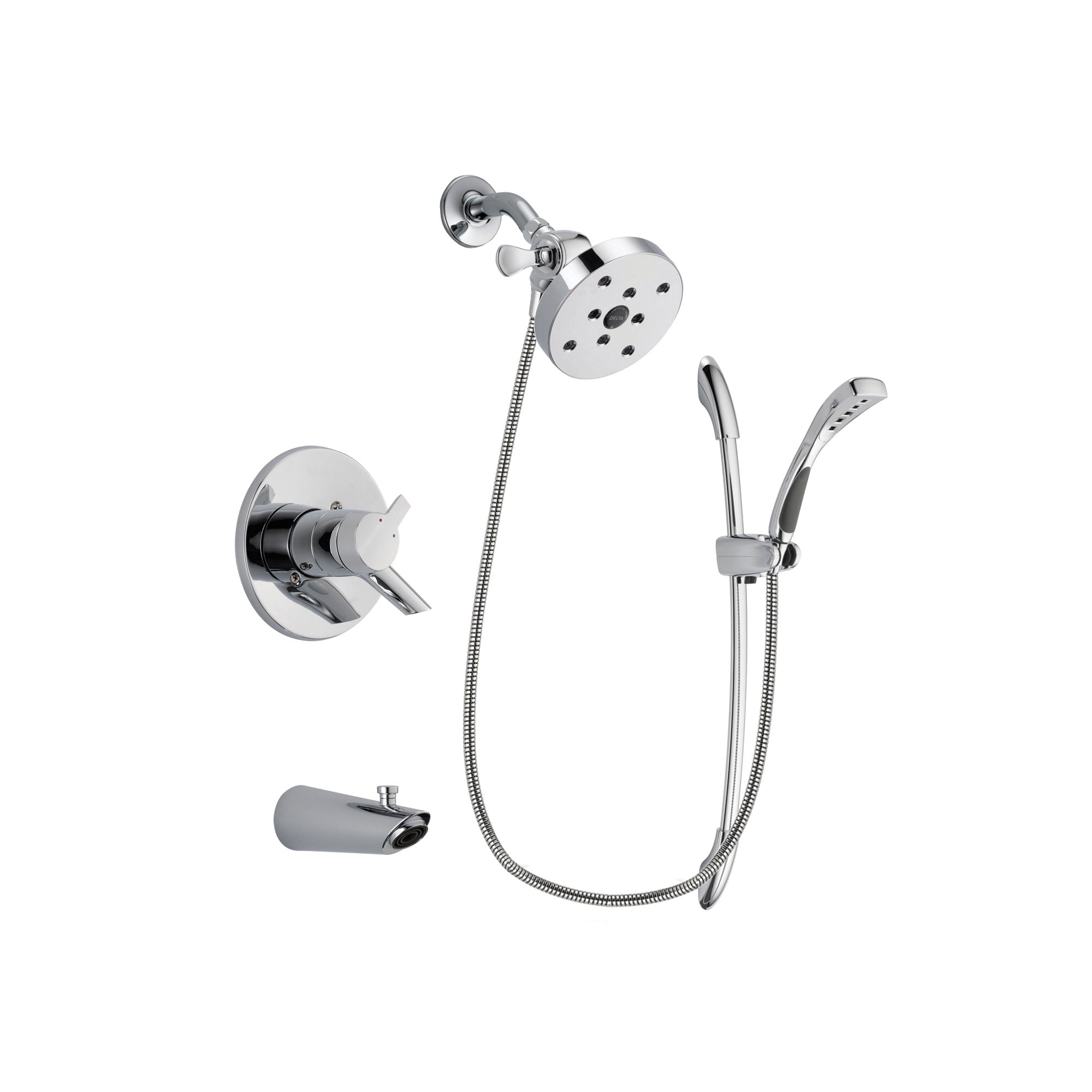 Delta Compel Chrome Finish Dual Control Tub and Shower Faucet System Package with 5-1/2 inch Shower Head and Handheld Shower with Slide Bar Includes Rough-in Valve and Tub Spout DSP0551V