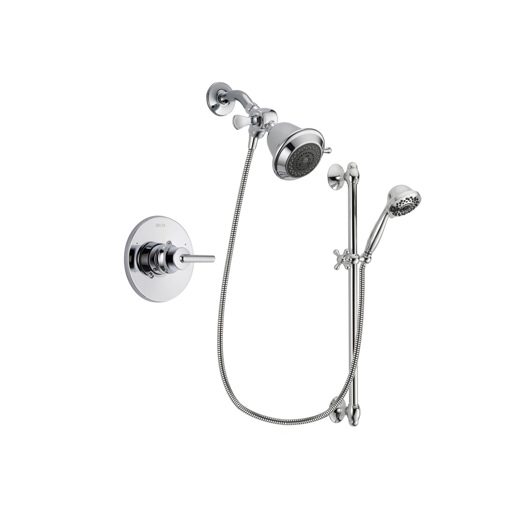 Delta Trinsic Chrome Shower Faucet System w/ Showerhead and Hand Shower DSP0574V