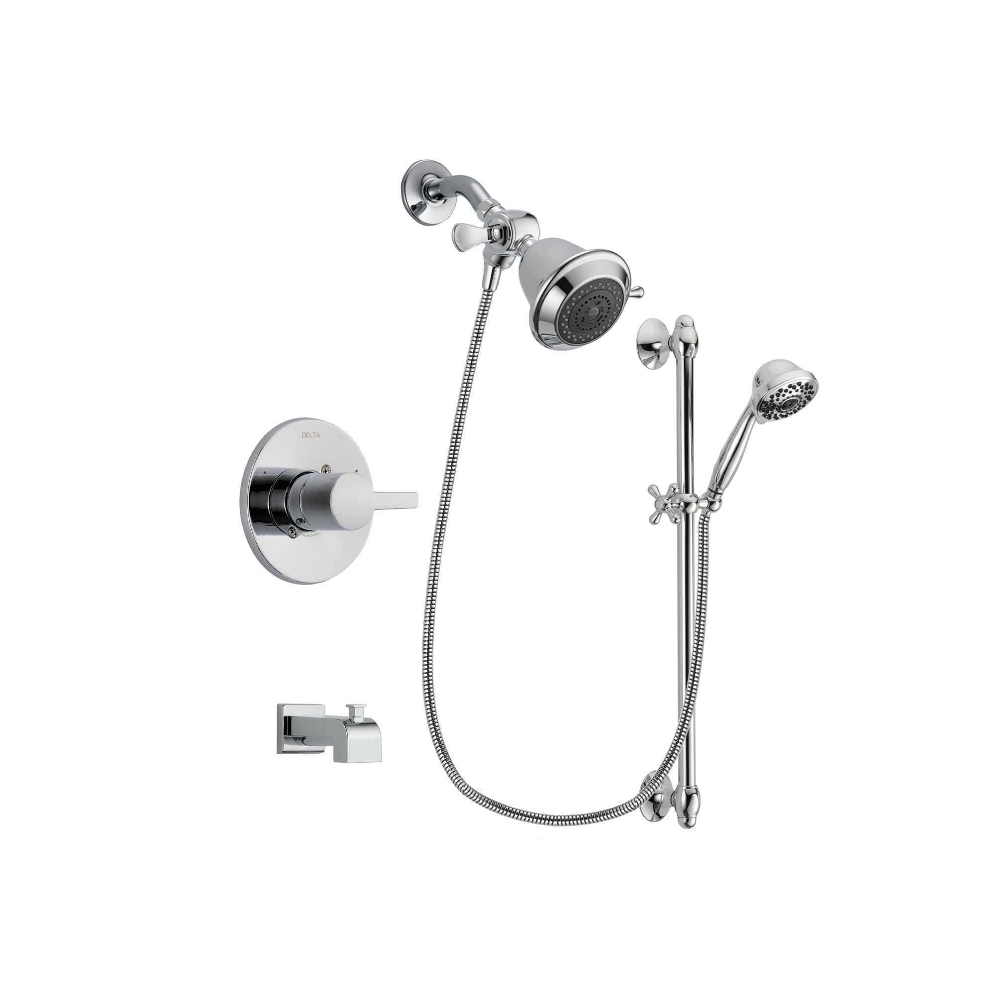 Delta Compel Chrome Tub and Shower Faucet System with Hand Shower DSP0575V