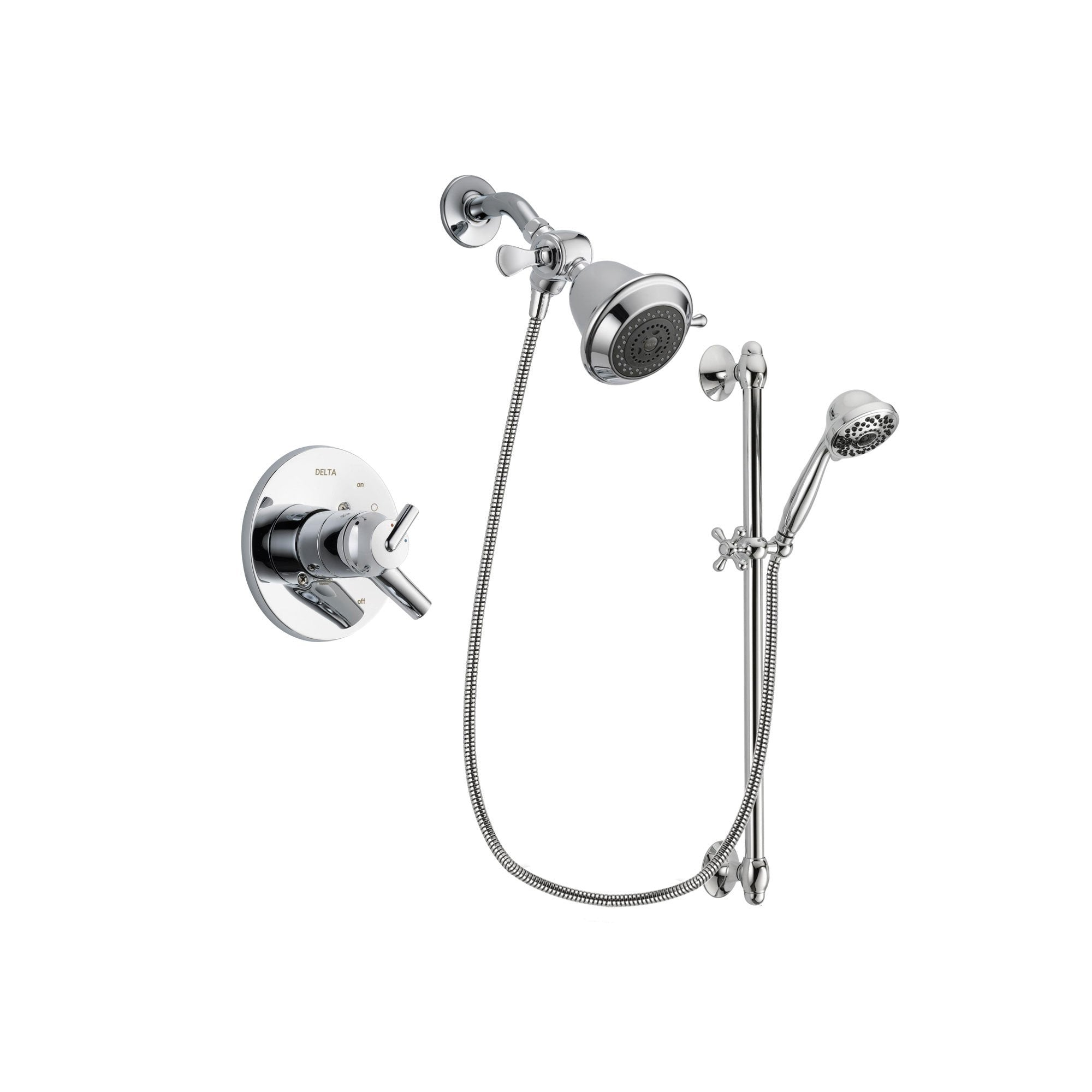 Delta Trinsic Chrome Shower Faucet System w/ Showerhead and Hand Shower DSP0584V