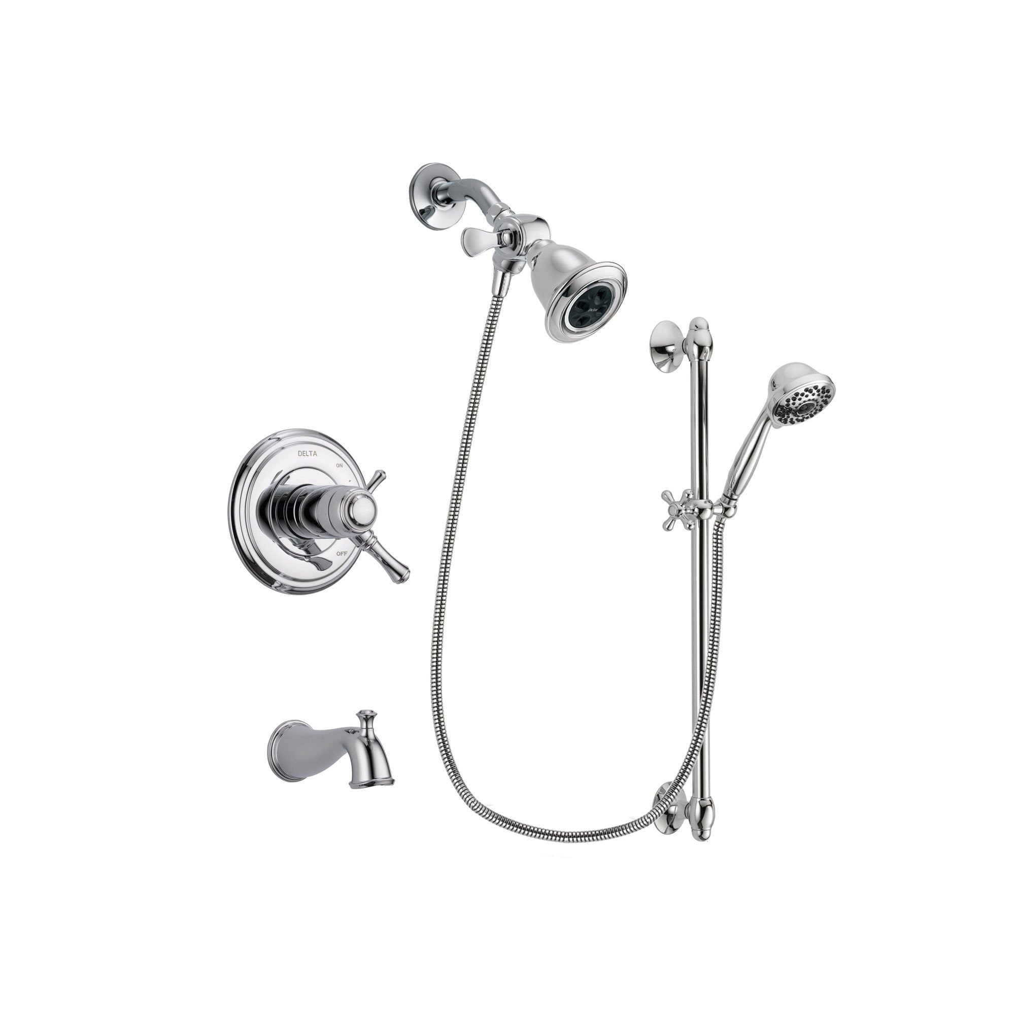 Delta Cassidy Chrome Tub and Shower Faucet System with Hand Shower DSP0603V