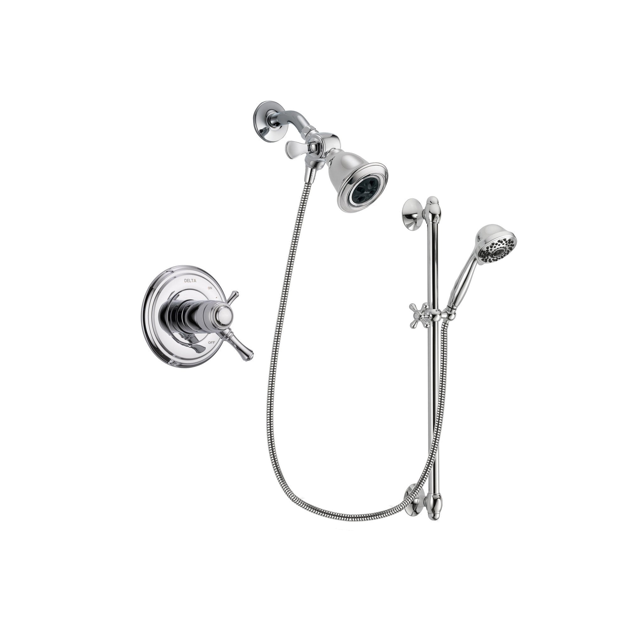 Delta Cassidy Chrome Shower Faucet System w/ Showerhead and Hand Shower DSP0604V