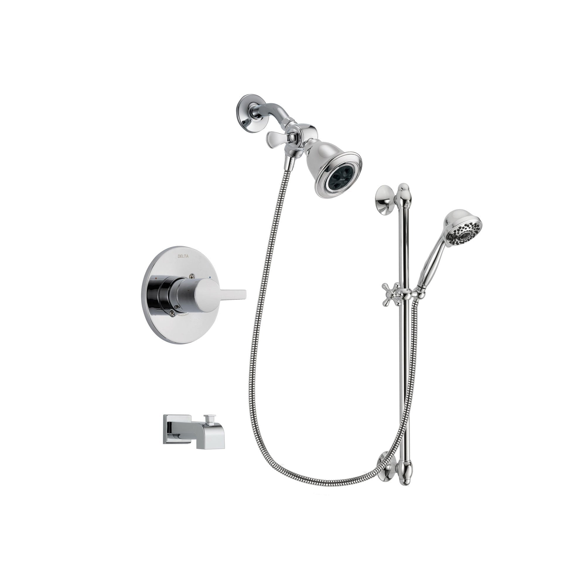 Delta Compel Chrome Tub and Shower Faucet System with Hand Shower DSP0609V