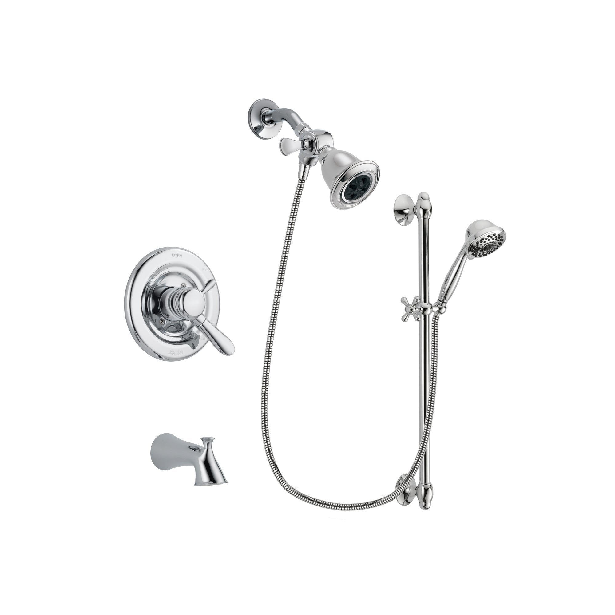 Delta Lahara Chrome Tub and Shower Faucet System with Hand Shower DSP0615V