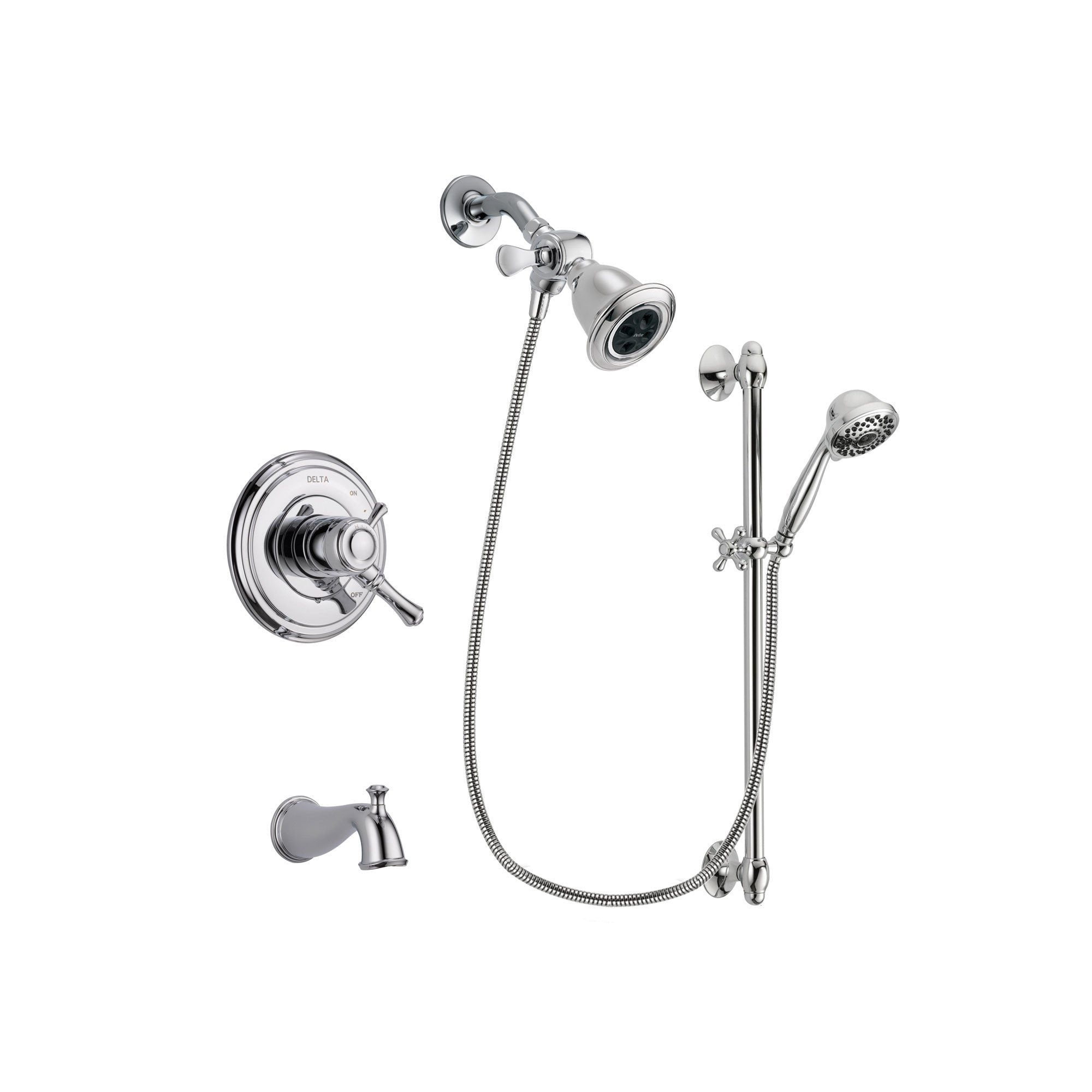 Delta Cassidy Chrome Tub and Shower Faucet System with Hand Shower DSP0627V