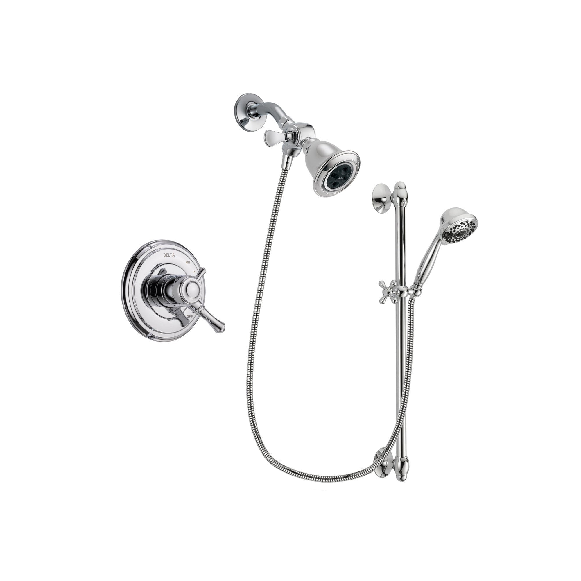 Delta Cassidy Chrome Shower Faucet System w/ Showerhead and Hand Shower DSP0628V