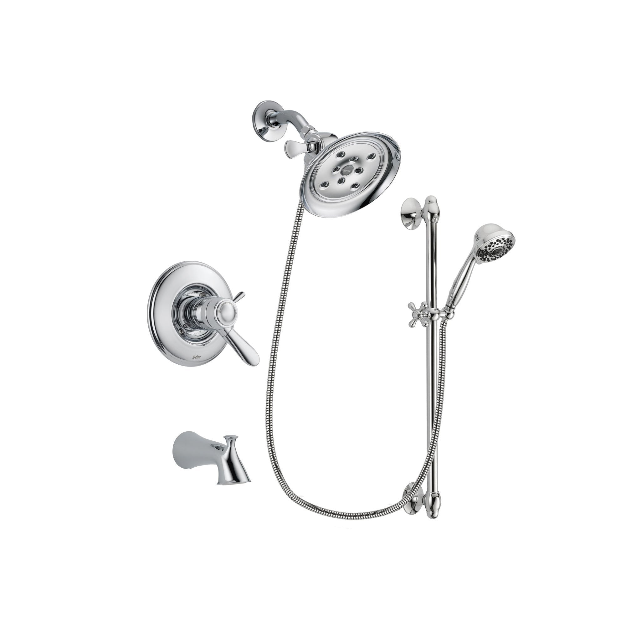 Delta Lahara Chrome Tub and Shower Faucet System with Hand Shower DSP0629V