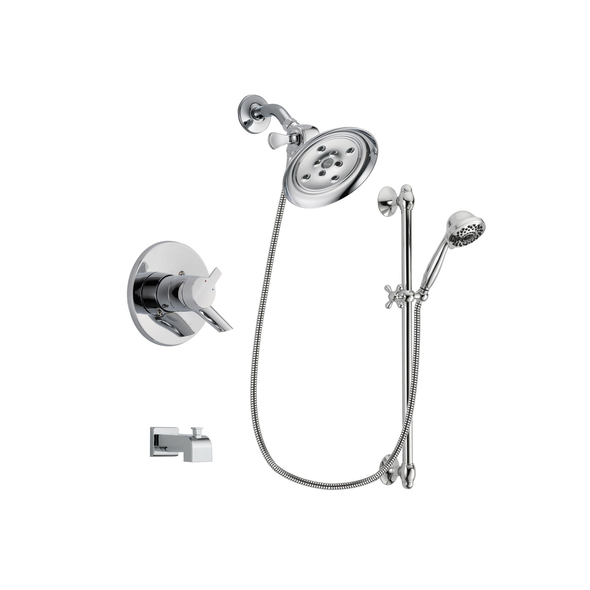 Delta Compel Chrome Tub and Shower Faucet System with Hand Shower DSP0653V