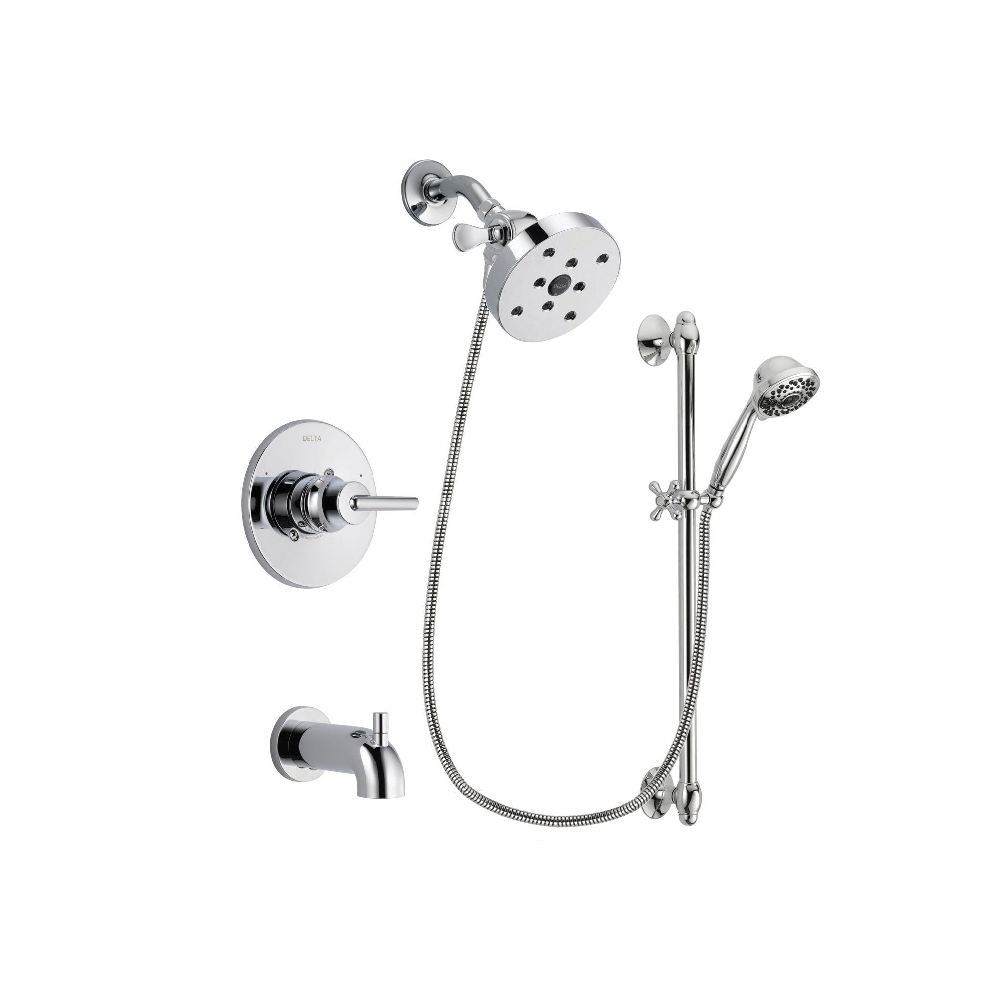 Delta Trinsic Chrome Tub and Shower Faucet System with Hand Shower DSP0675V
