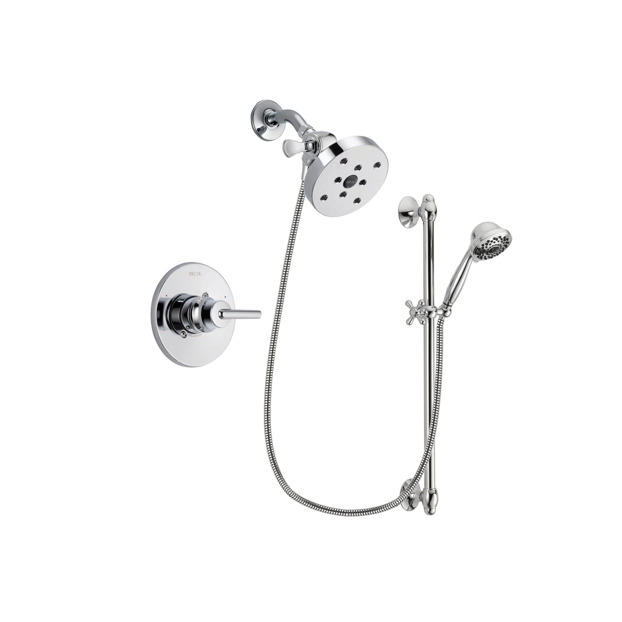 Delta Trinsic Chrome Shower Faucet System w/ Showerhead and Hand Shower DSP0676V