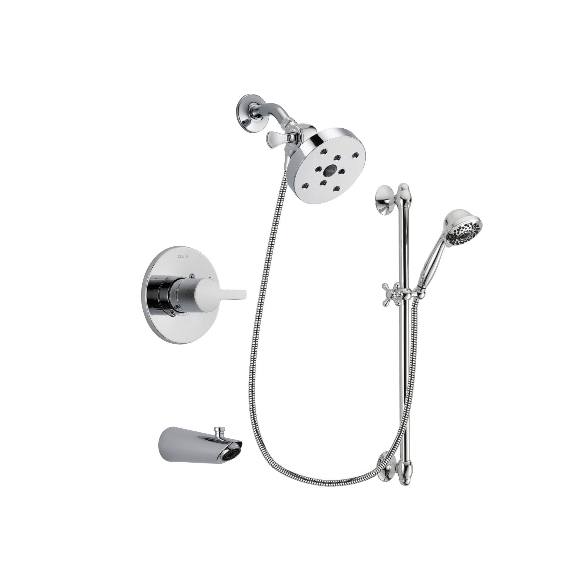 Delta Compel Chrome Tub and Shower Faucet System with Hand Shower DSP0677V