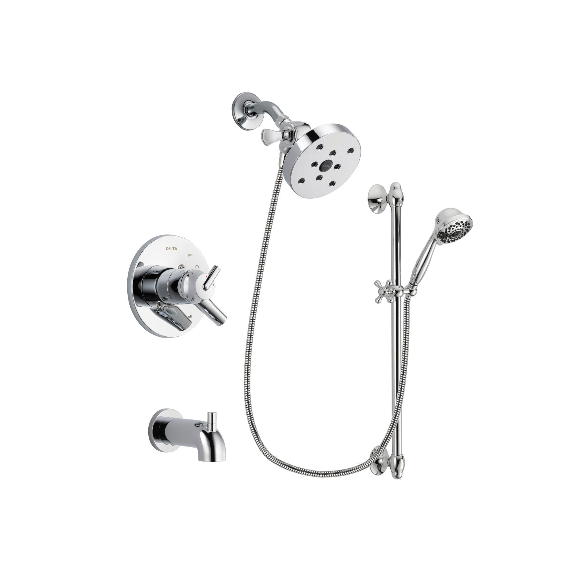 Delta Trinsic Chrome Tub and Shower Faucet System with Hand Shower DSP0685V