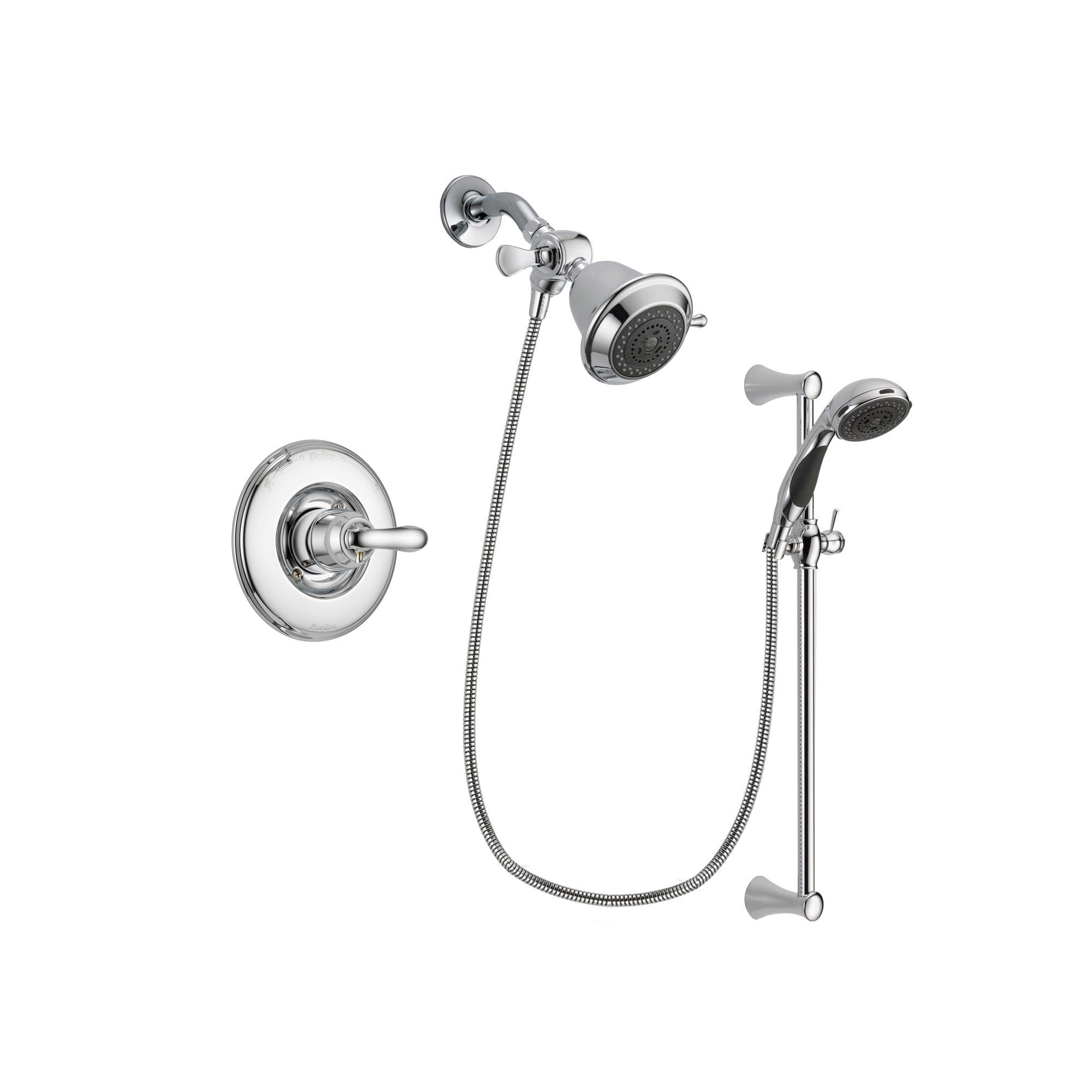 Delta Linden Chrome Shower Faucet System w/ Shower Head and Hand Shower DSP0716V