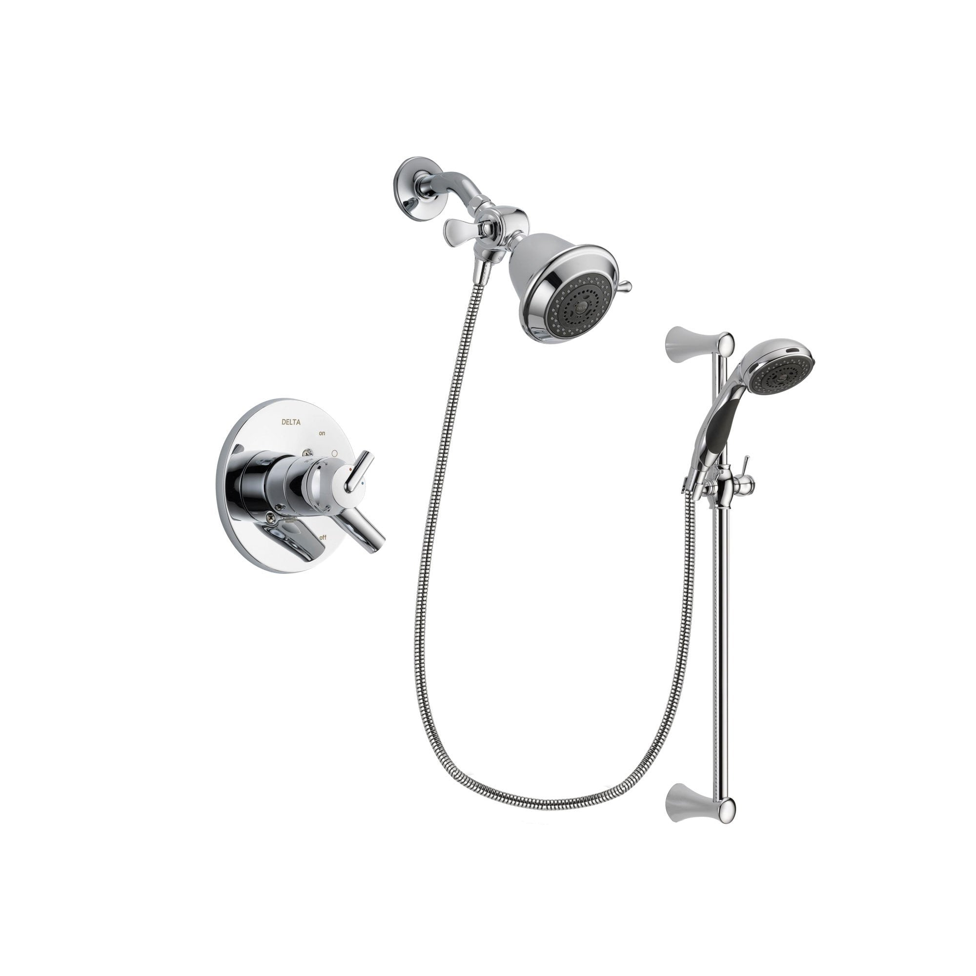 Delta Trinsic Chrome Shower Faucet System w/ Showerhead and Hand Shower DSP0720V