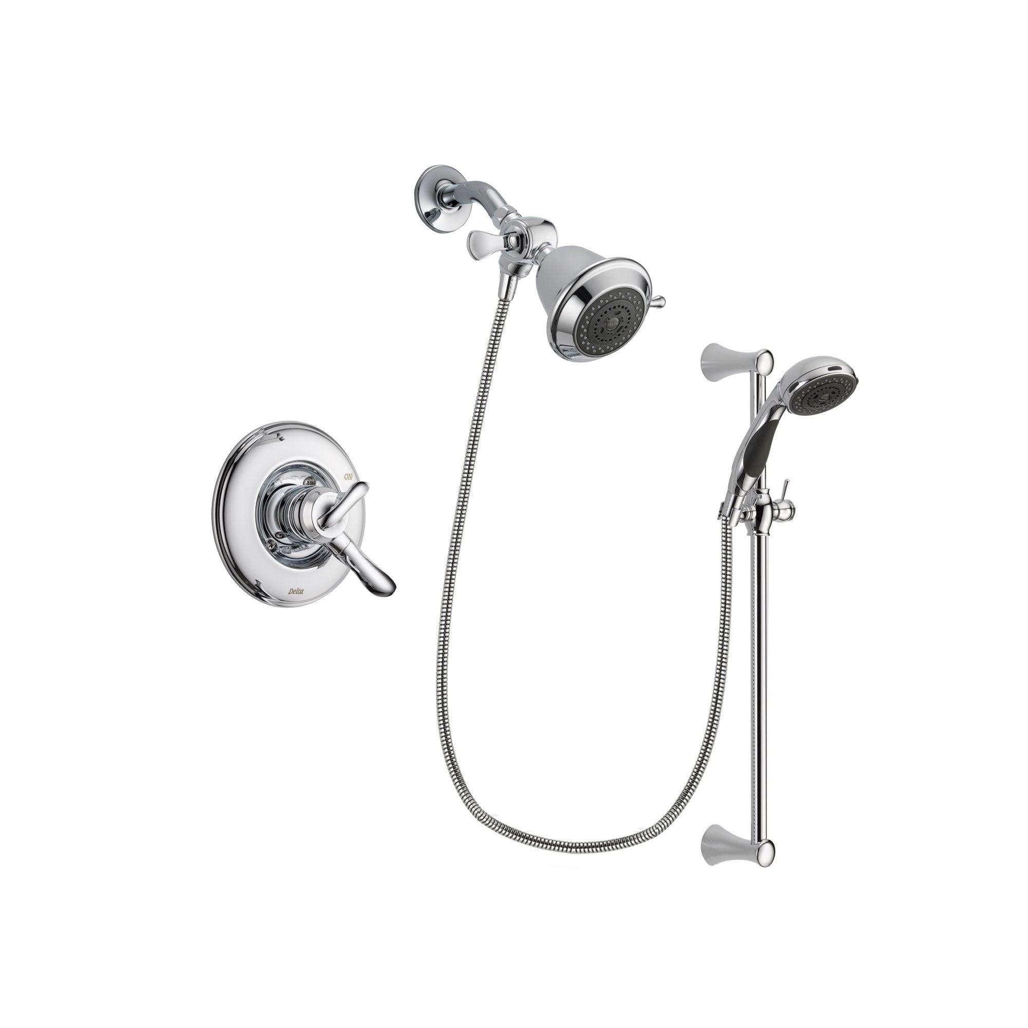 Delta Linden Chrome Shower Faucet System w/ Shower Head and Hand Shower DSP0728V