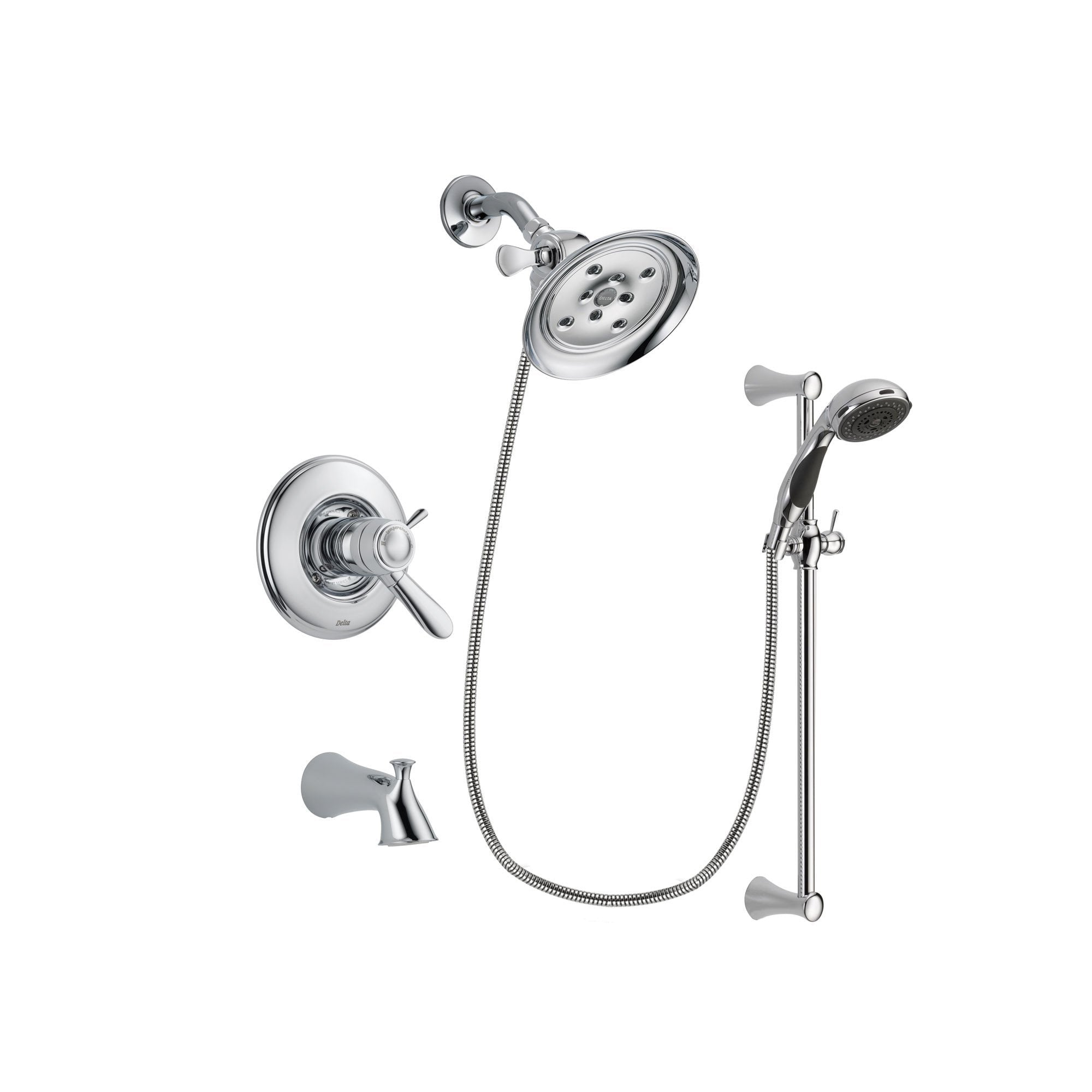 Delta Lahara Chrome Tub and Shower Faucet System with Hand Shower DSP0765V