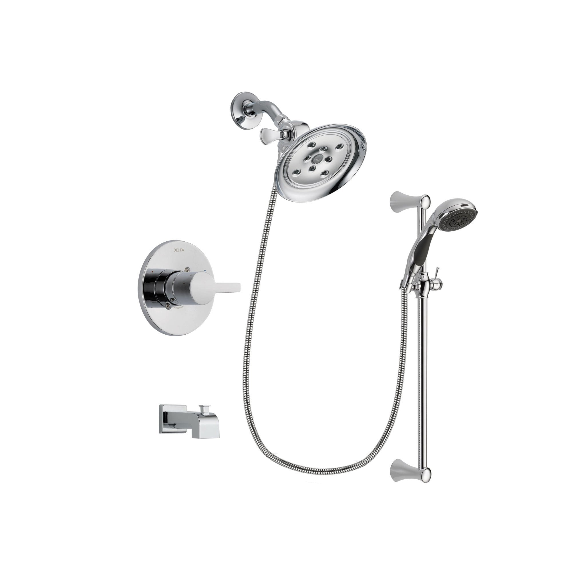 Delta Compel Chrome Tub and Shower Faucet System with Hand Shower DSP0779V