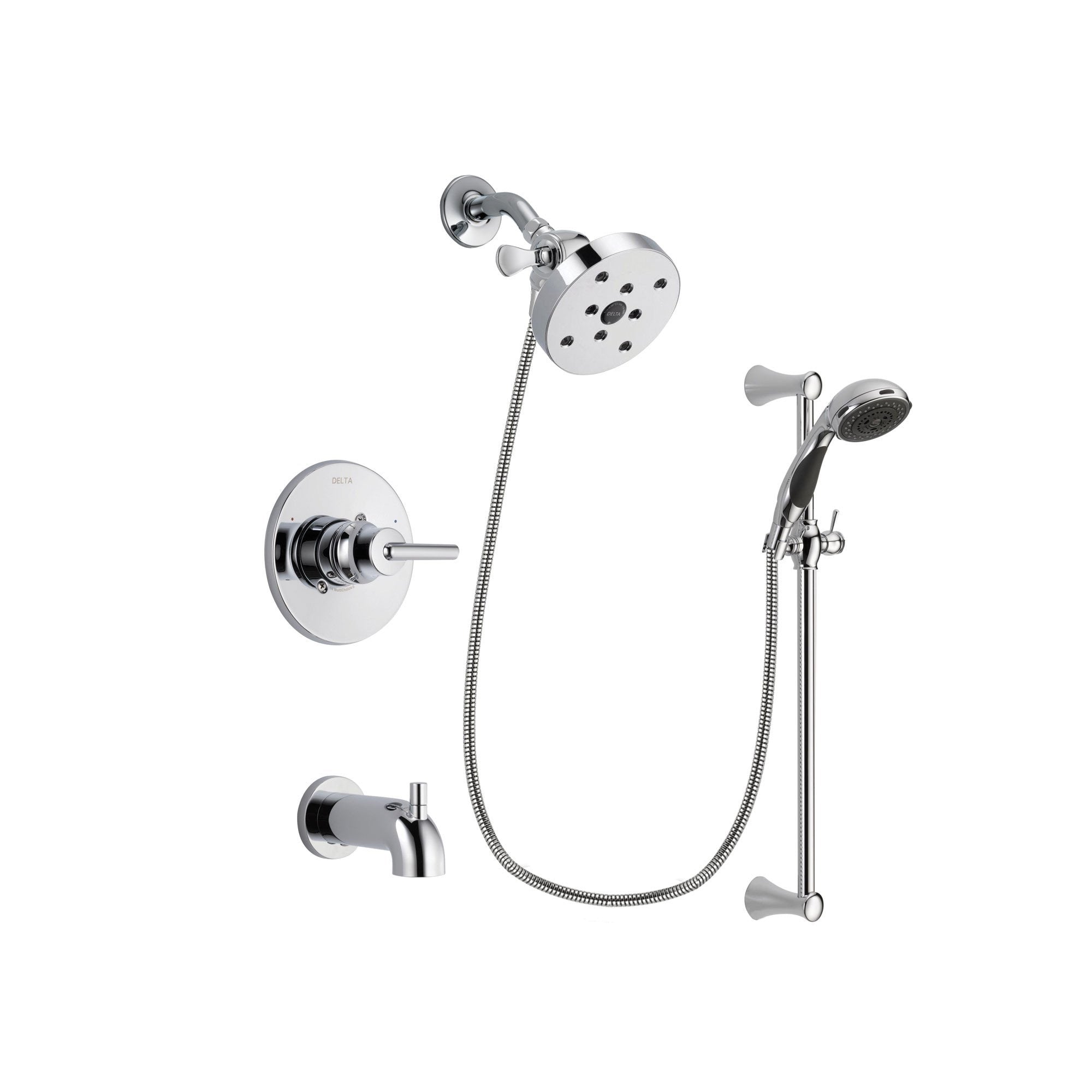 Delta Trinsic Chrome Tub and Shower Faucet System with Hand Shower DSP0811V