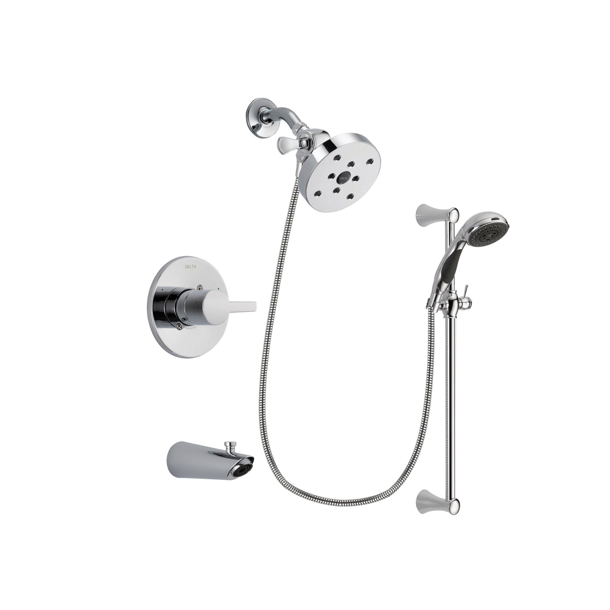 Delta Compel Chrome Tub and Shower Faucet System with Hand Shower DSP0813V